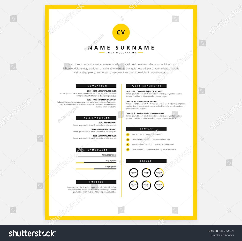 yellow black cv resume template vectorのベクター画像素材 1045354129