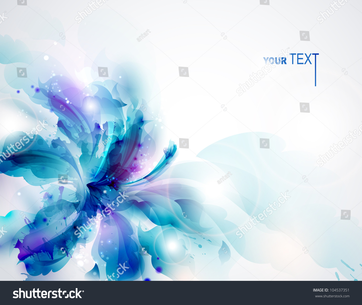 Background With Blue Abstract Flower Stock Vector