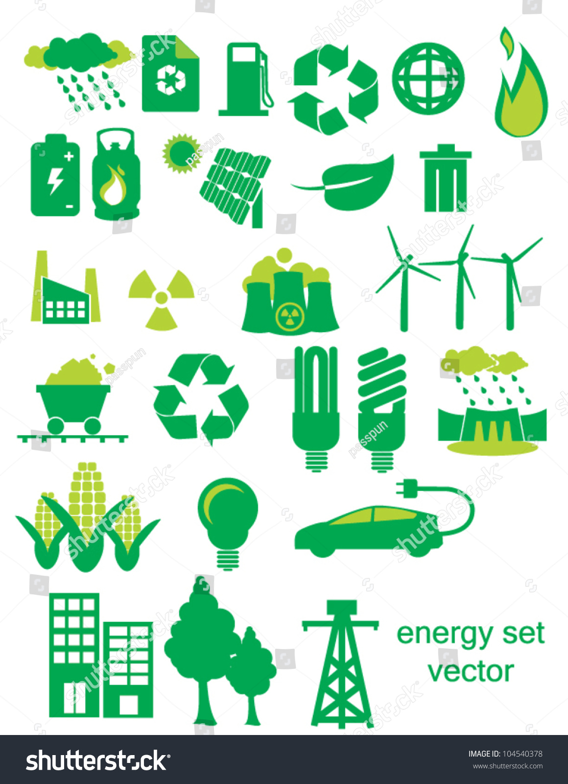 Green Energy Icon Set Depicting Energy Stock Vector