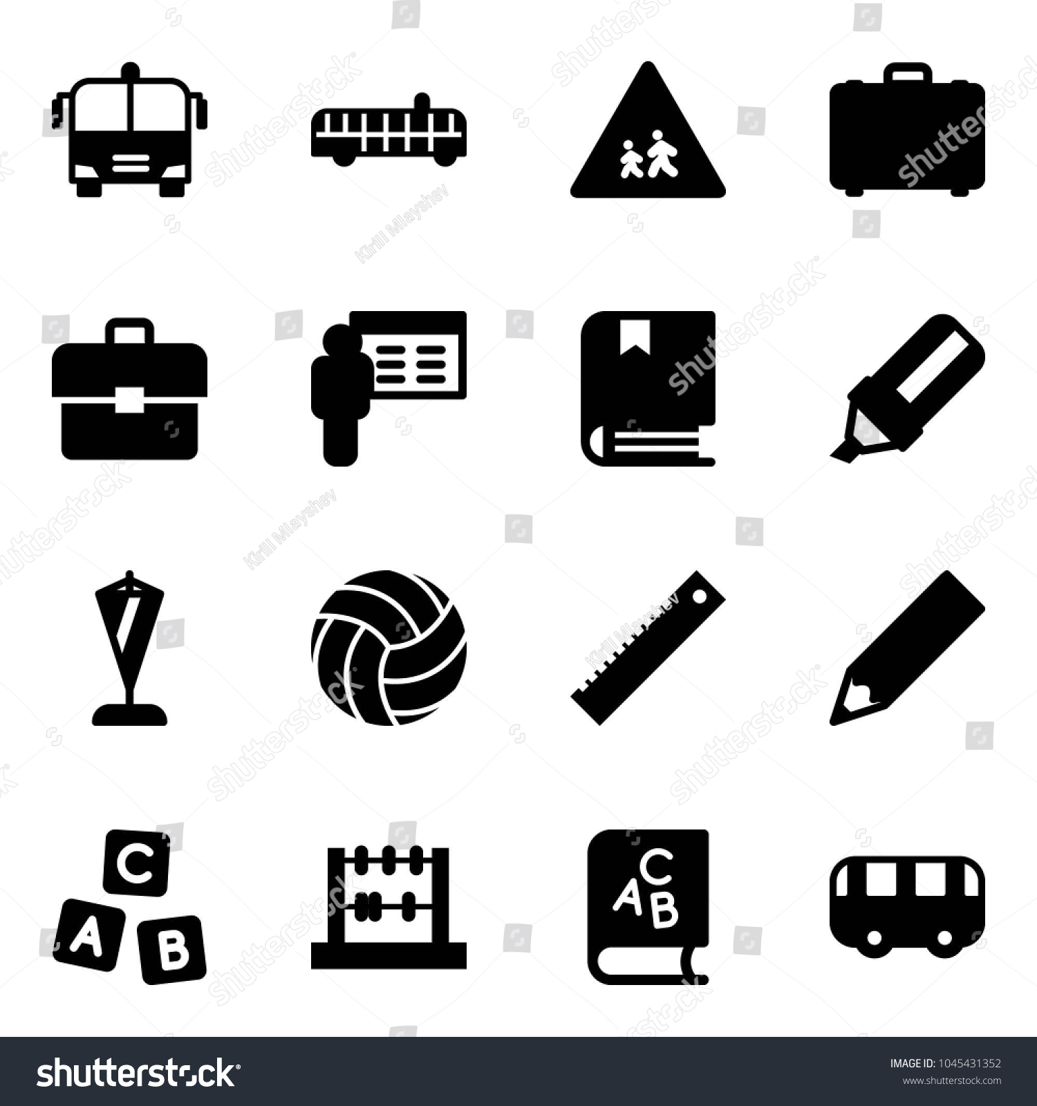 Solid Vector Icon Set Airport Bus Stock Vector (Royalty Free