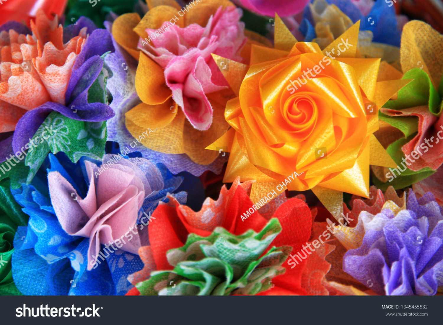 Close Colorful Ribbon Flowers Coins Folding Stock Photo Edit Now