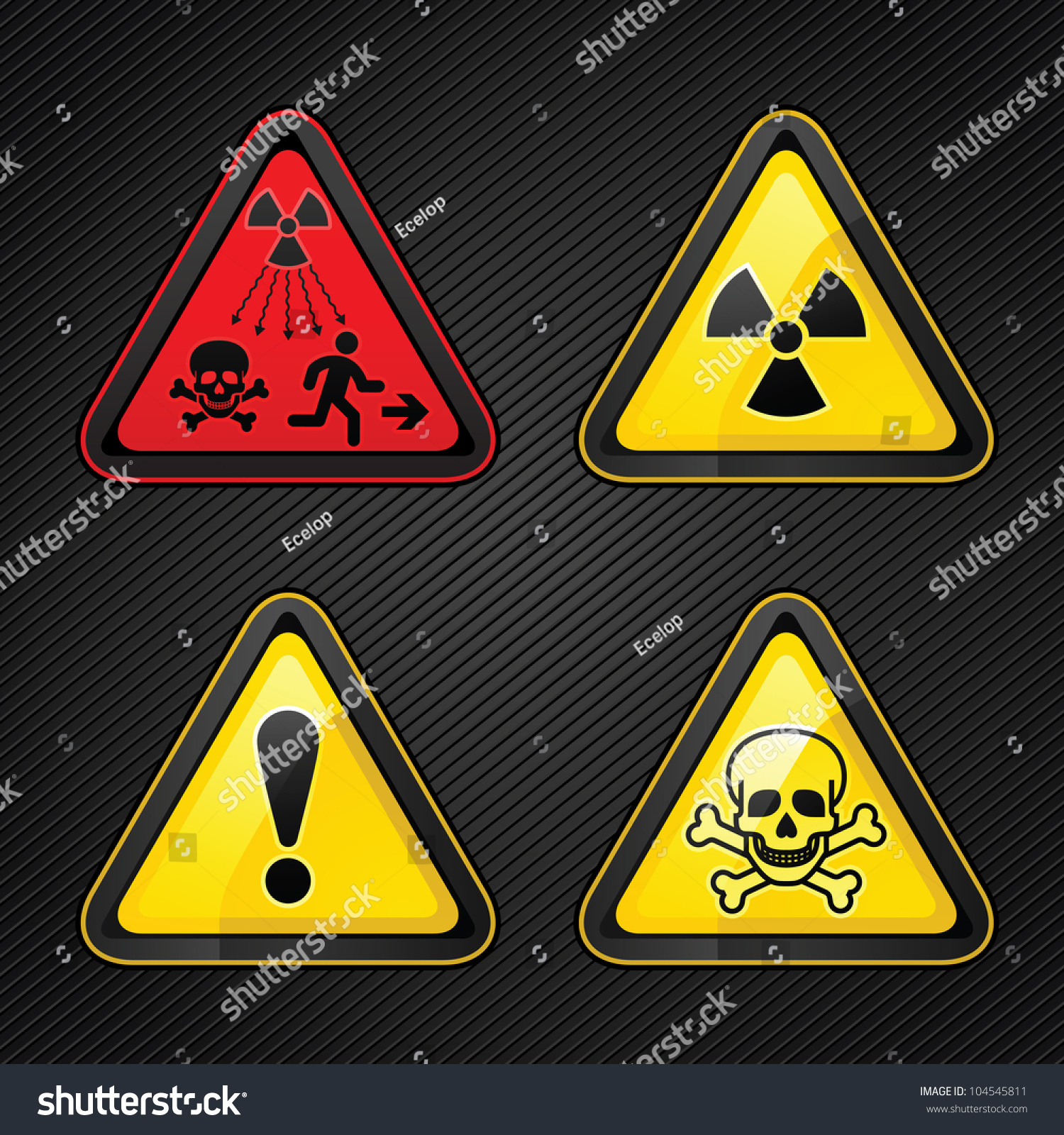 Triangular Warning Hazard Set Signs New Stock Vector 104545811 ...