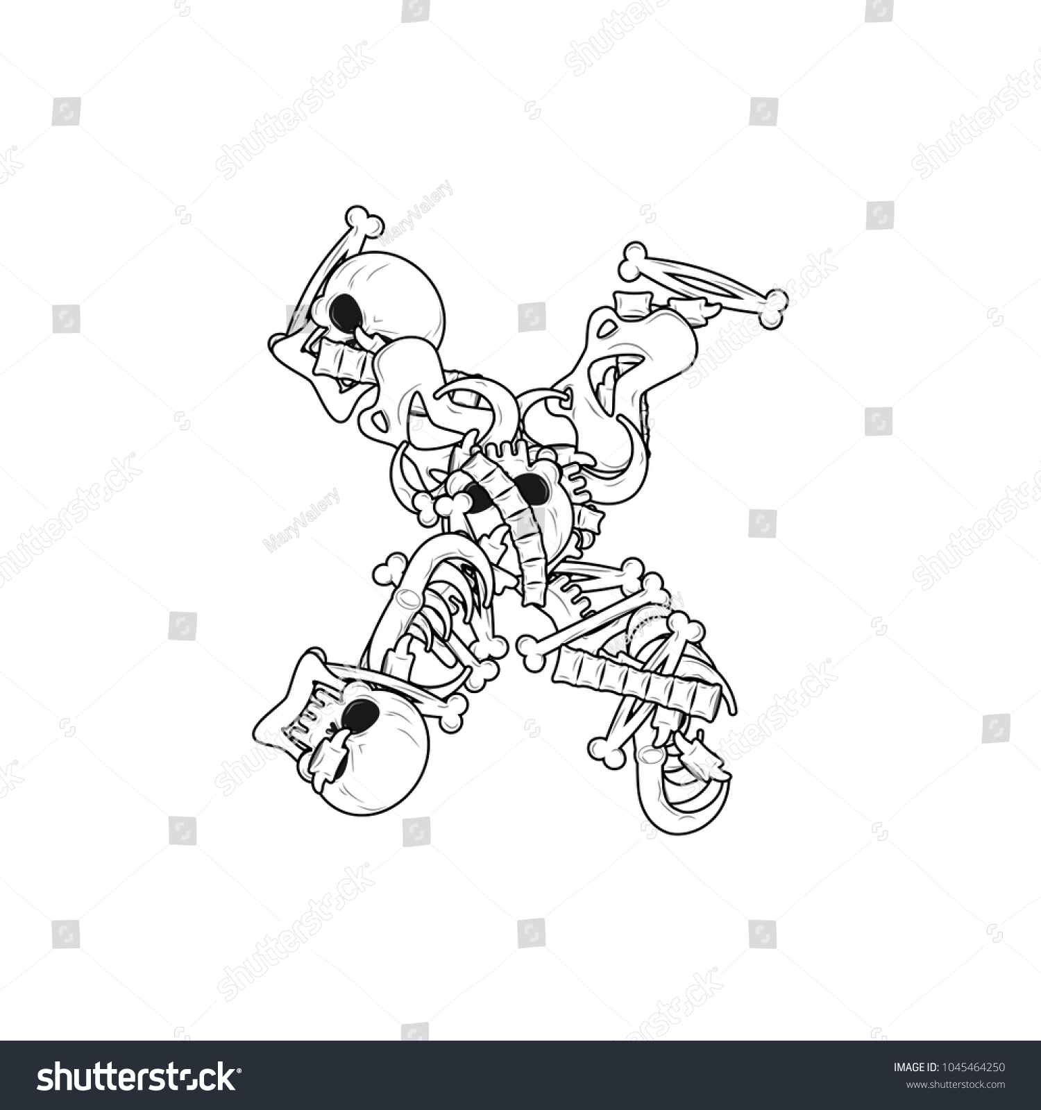 Letter X Skeleton Bones Font Anatomy Stock Illustration 1045464250 ...