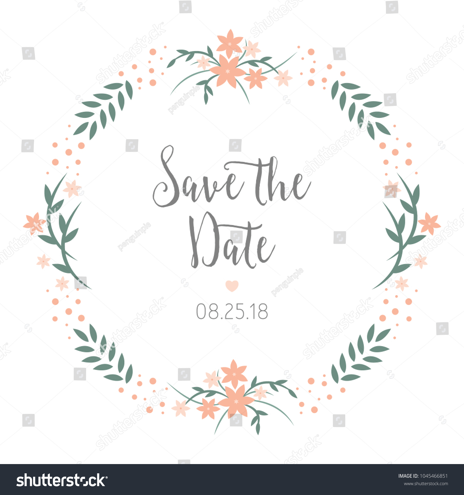 Save Date Wedding Reminder Card Design Stock Vector 1045466851 ...