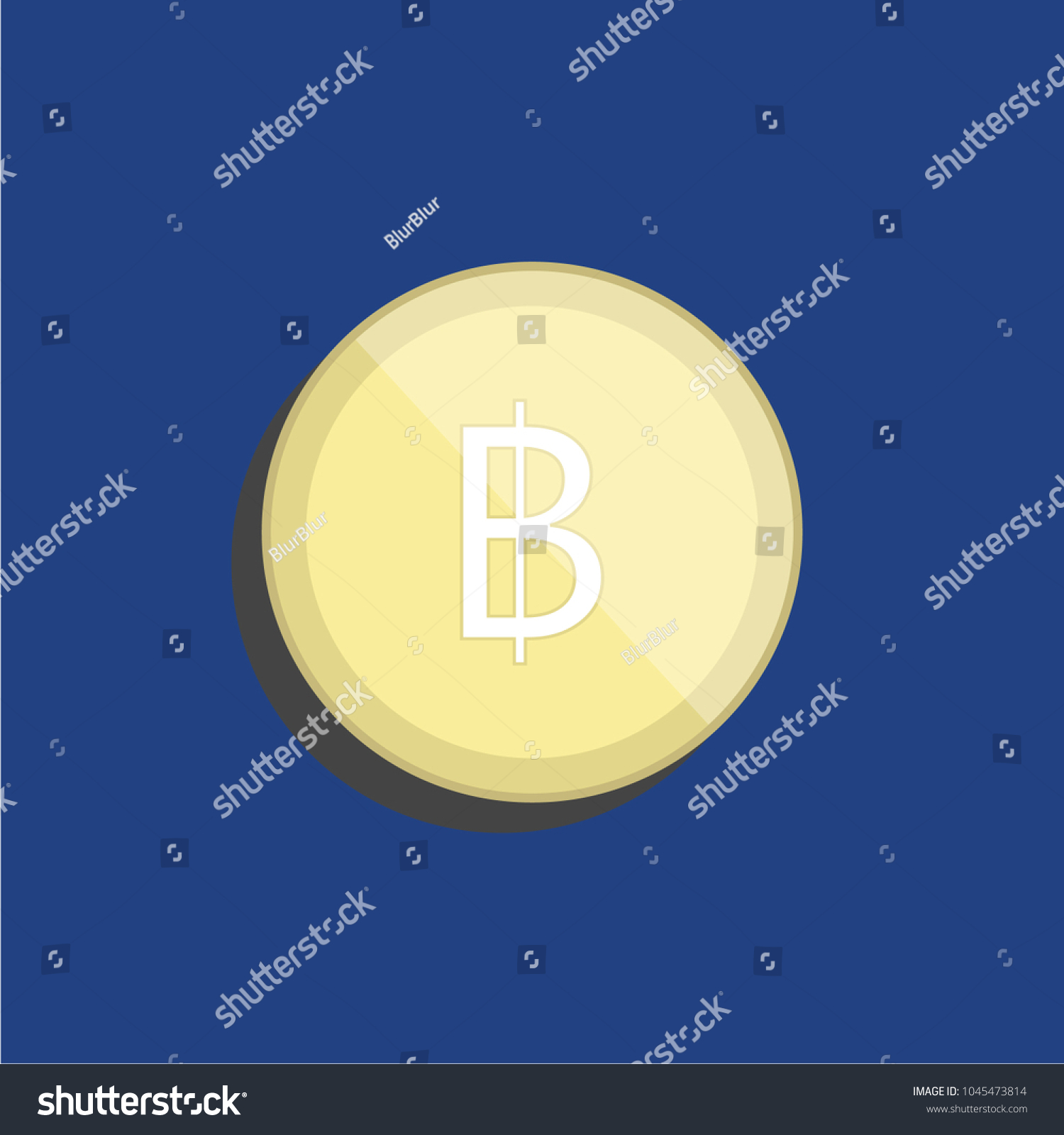 Baht Thailand Currency Symbol Coin Object Stock Vector Royalty Free