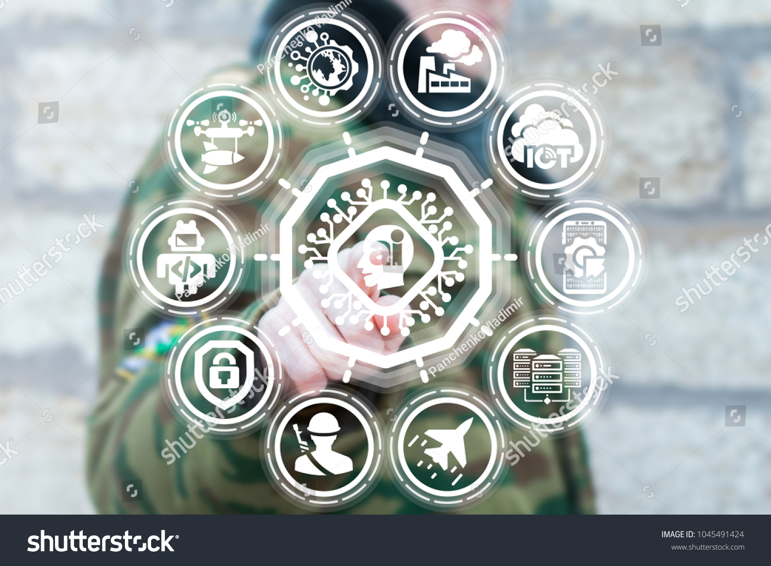 Soldier Pressing Circuit Board Head Ai Stock Photo Edit Now