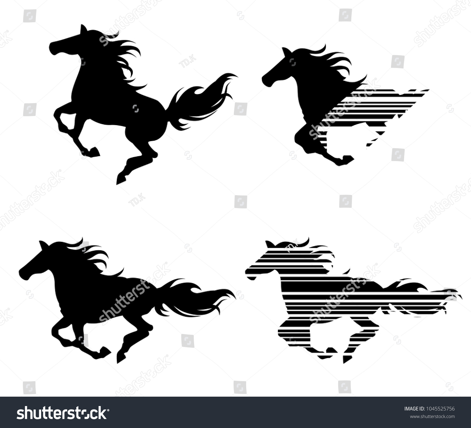 Running Horse Vector Horse Silhouette Stock Vector Royalty Free 1045525756