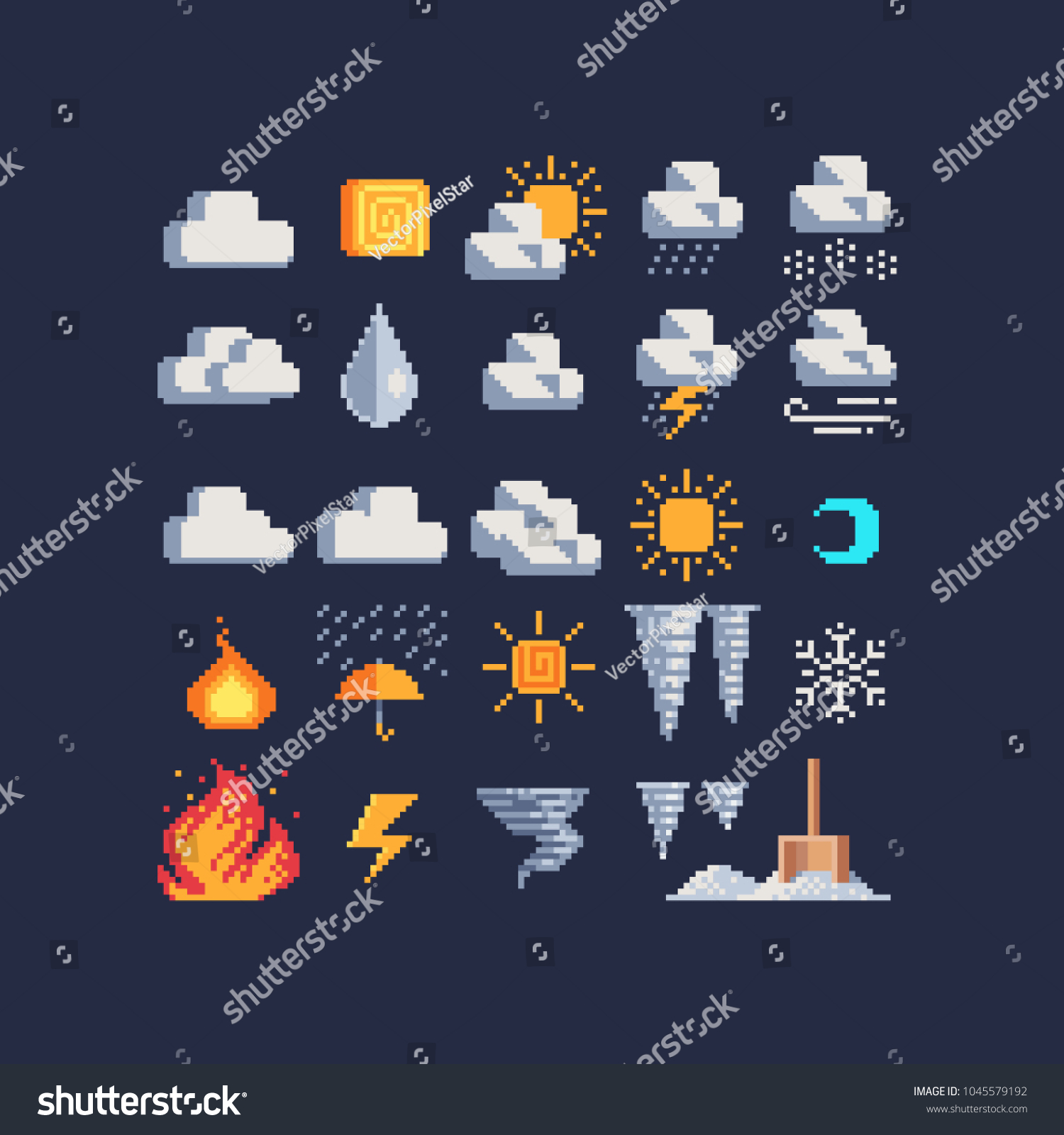 Weather Symbols Pixel Art 80 S Style Stock Vector Royalty Free