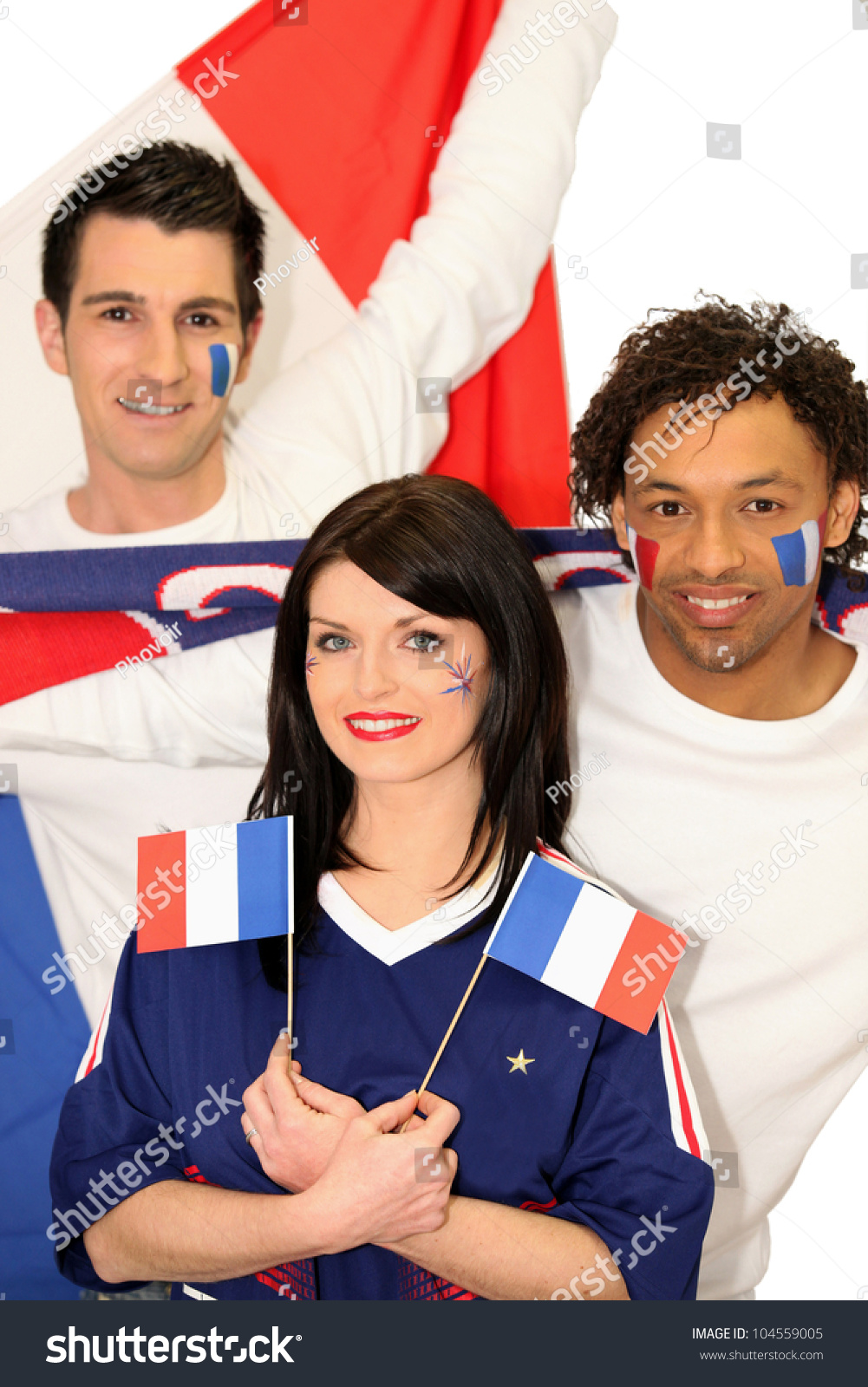 French People Students Lycee Charlemagne Stock Photos: Three French People Supporting Their National Team Stock