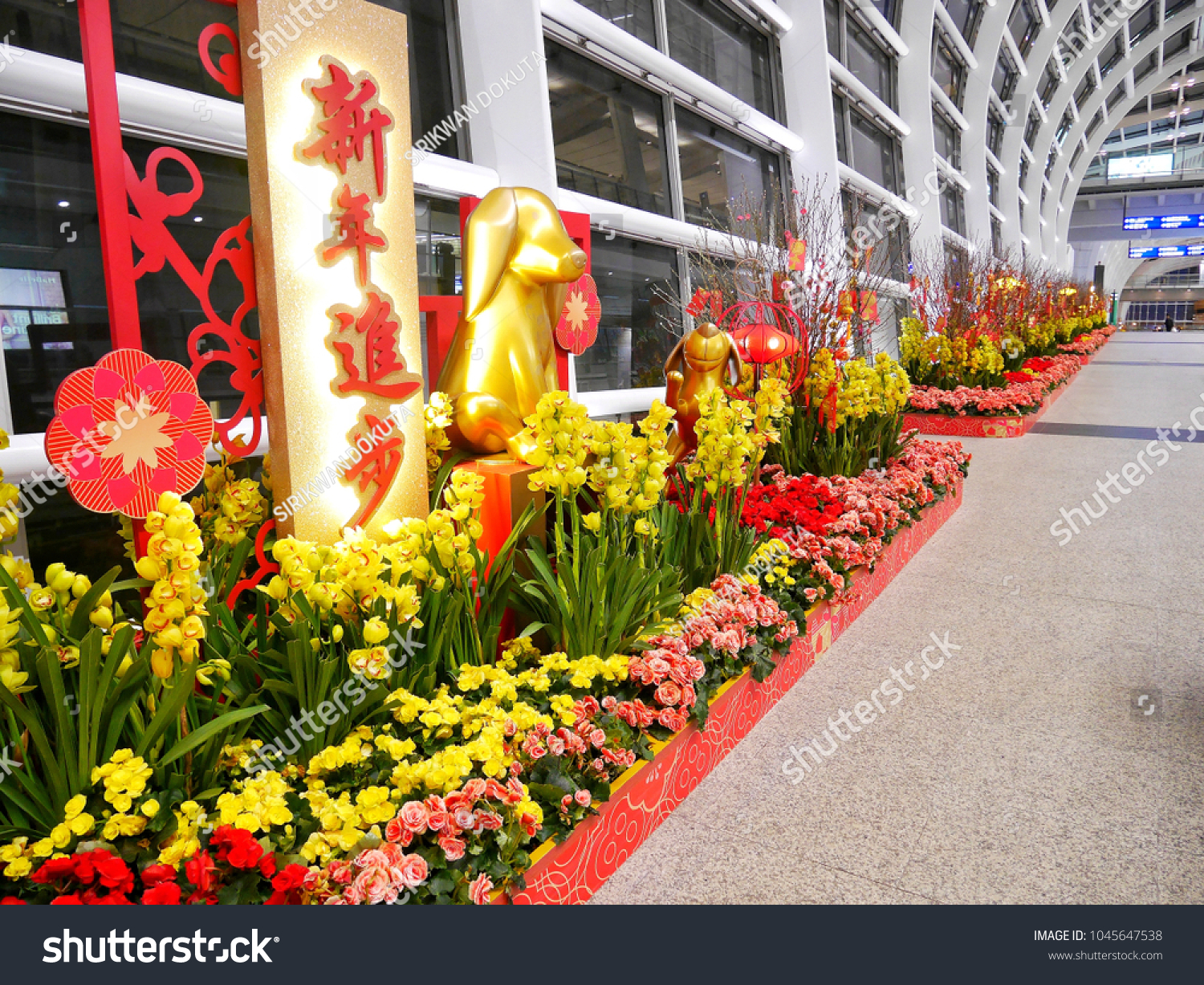 chinese new year 2018 theme decoration on the walkway at hongkong international airport hongkong