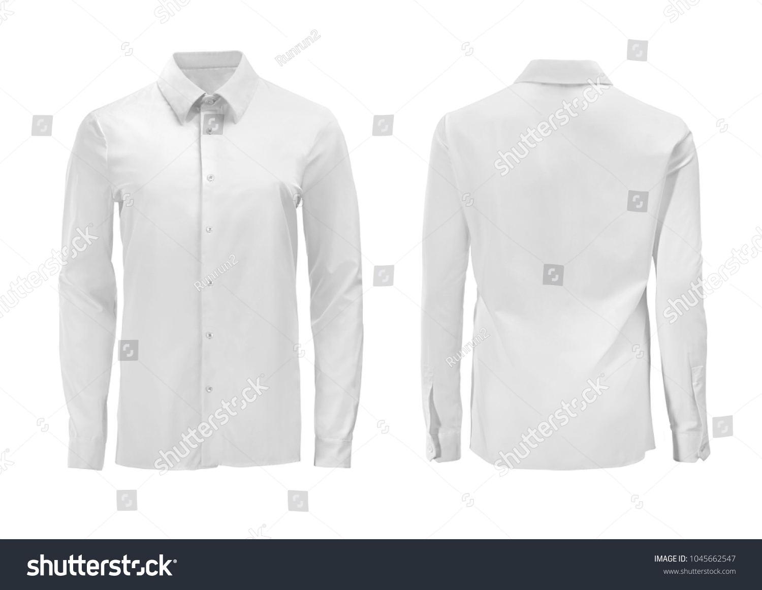White color formal shirt with button down collar isolated on white