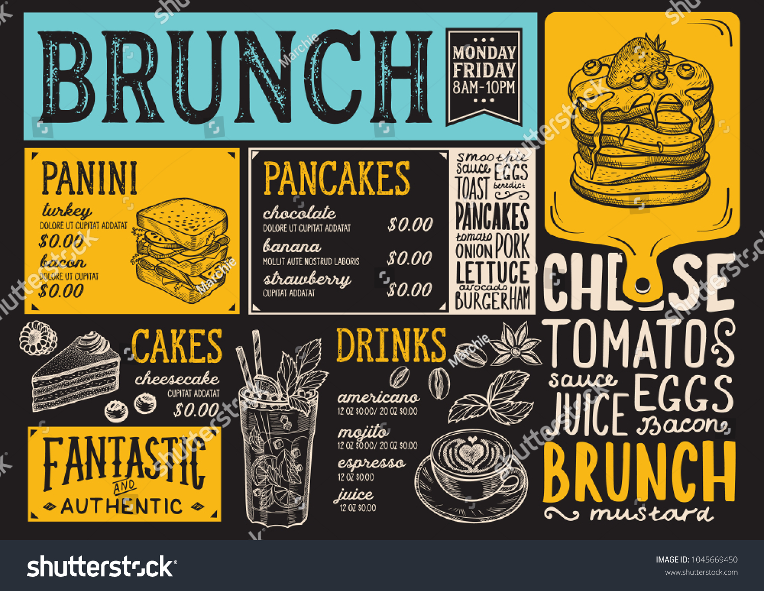 brunch restaurant menu vector food flyer のベクター画像素材