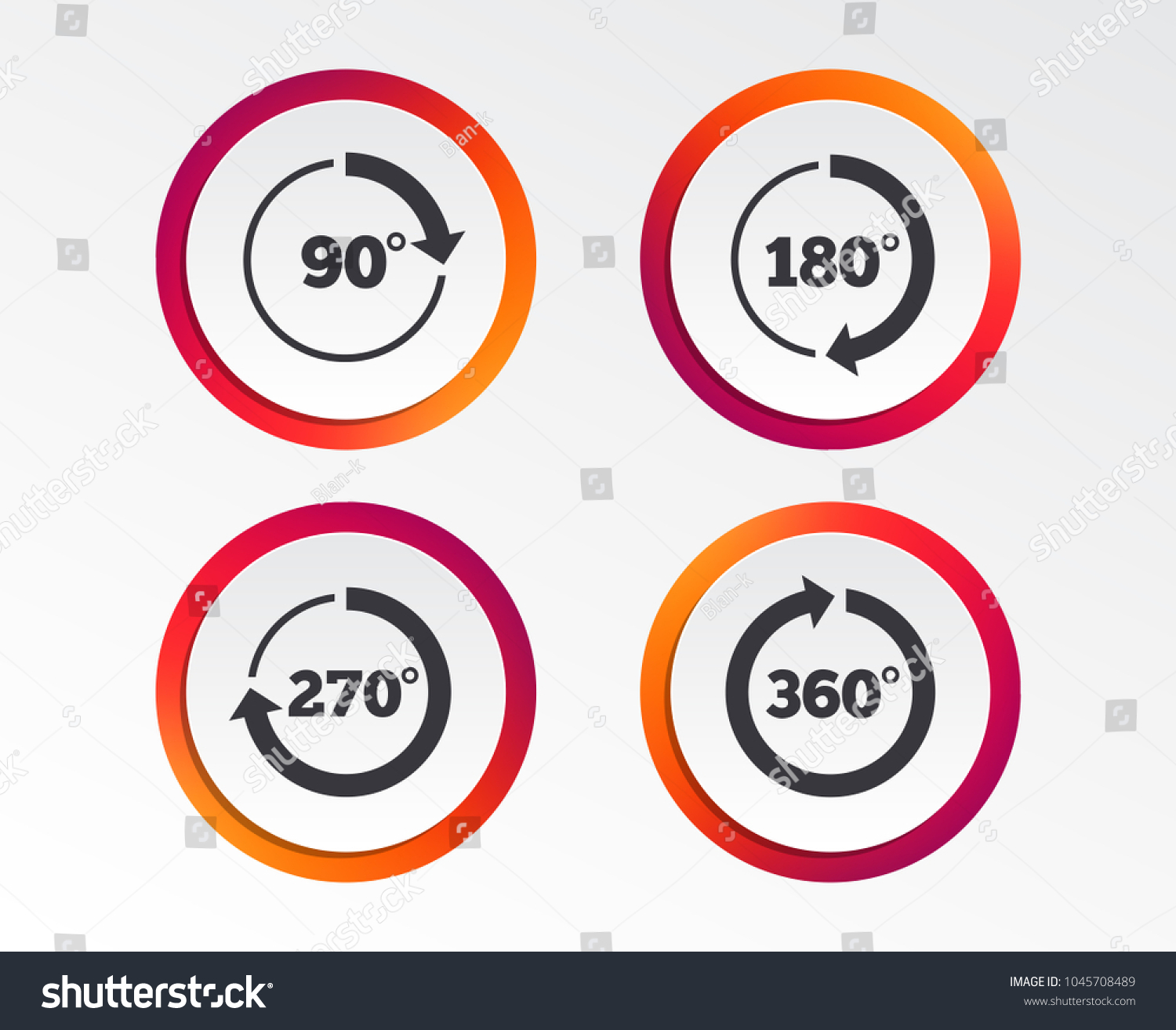 Angle 45360 Degrees Circle Icons Geometry Stock Vector