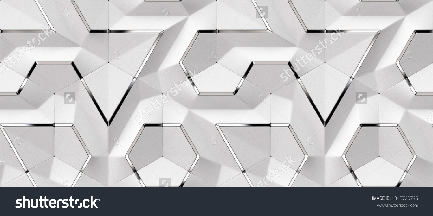 3D white leather panels with silver. High quality seamless design texture