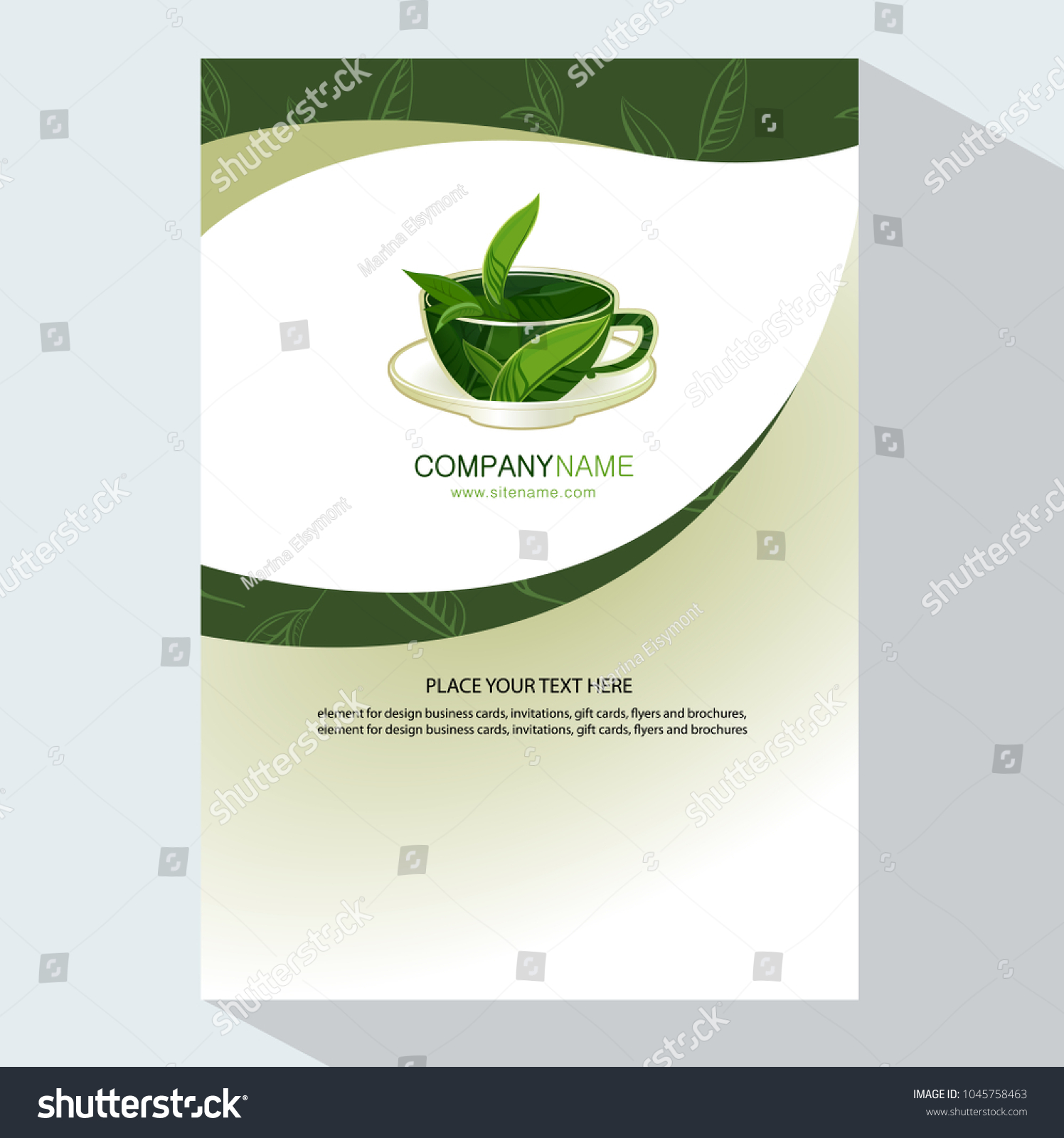 Cup Tea Leaves Logo Template Design Stock Vector 1045758463 ...