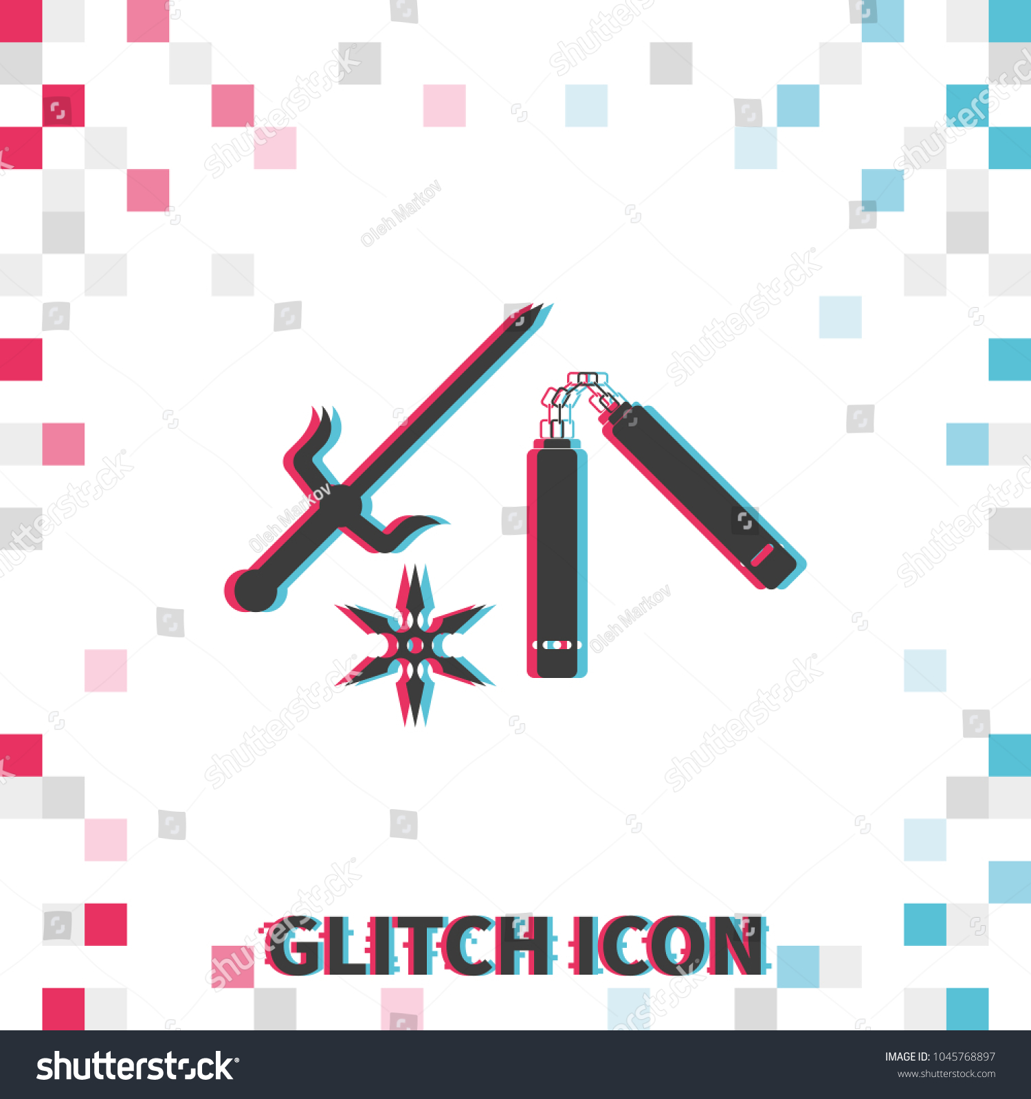 Nunchaku Shuriken Sai Glitch Effect Vector Stock Vector (Royalty