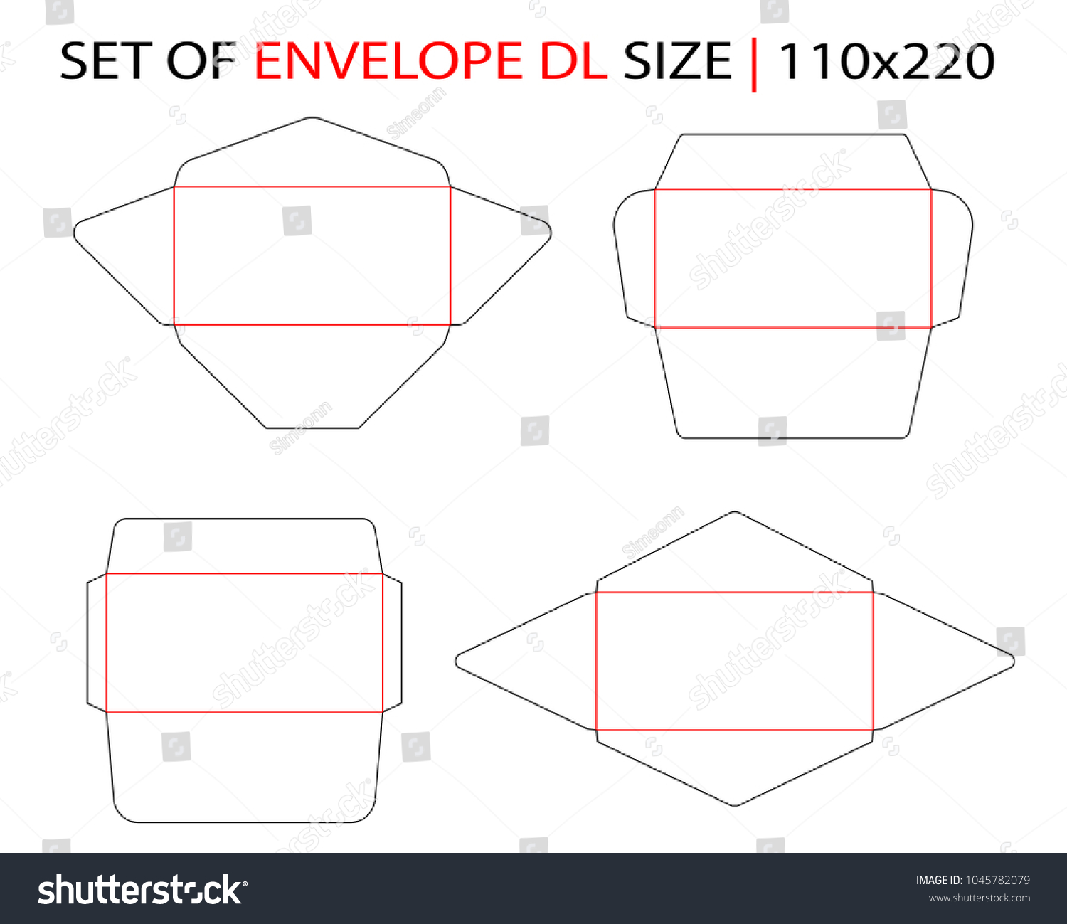 Set Envelope DLE 65 Size Commercial Flap Stock Vector (Royalty Free ...