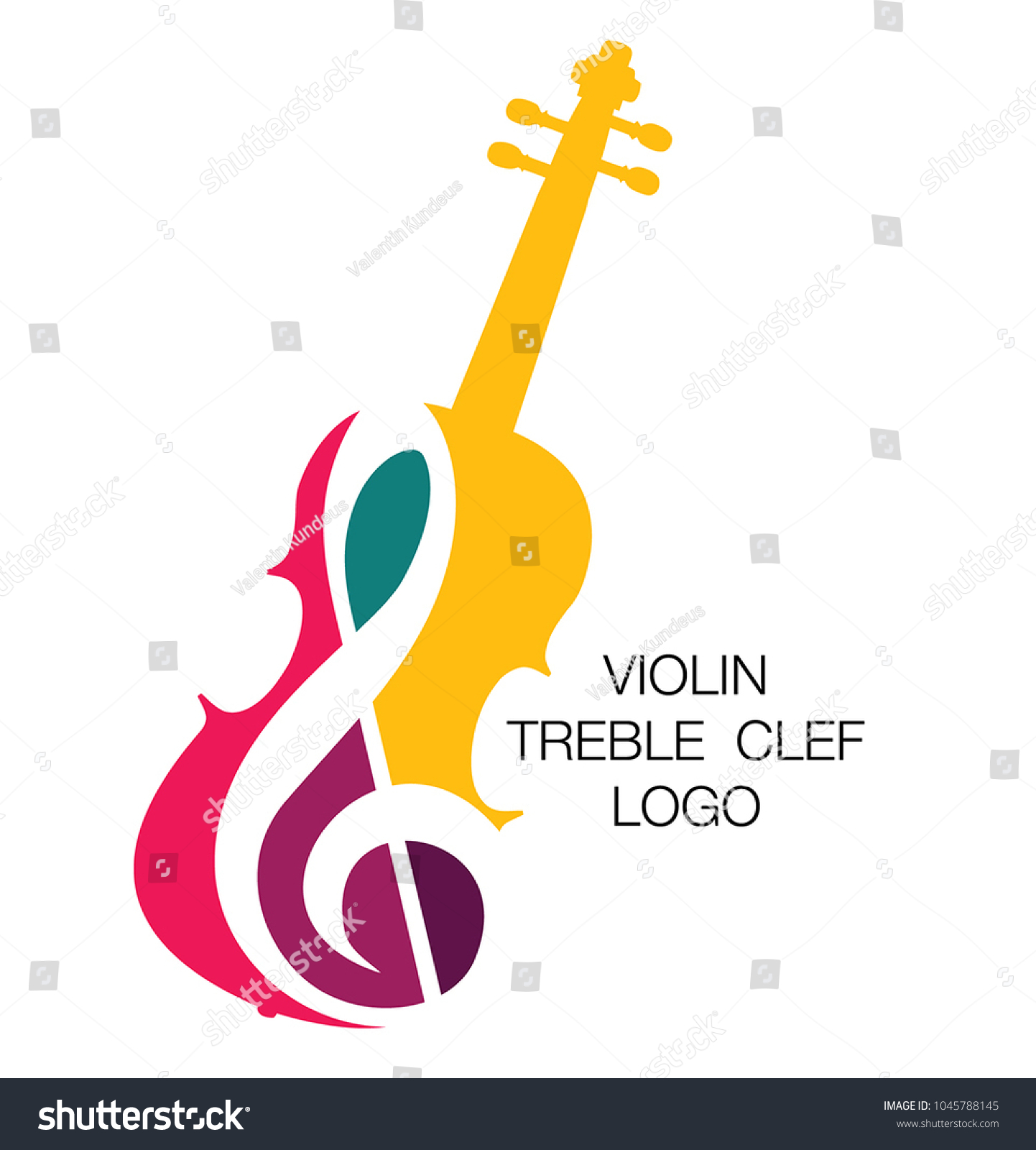Musical logo. Silhouette of a violin and a treble clef. Bright juicy colors. The concept of classical music.