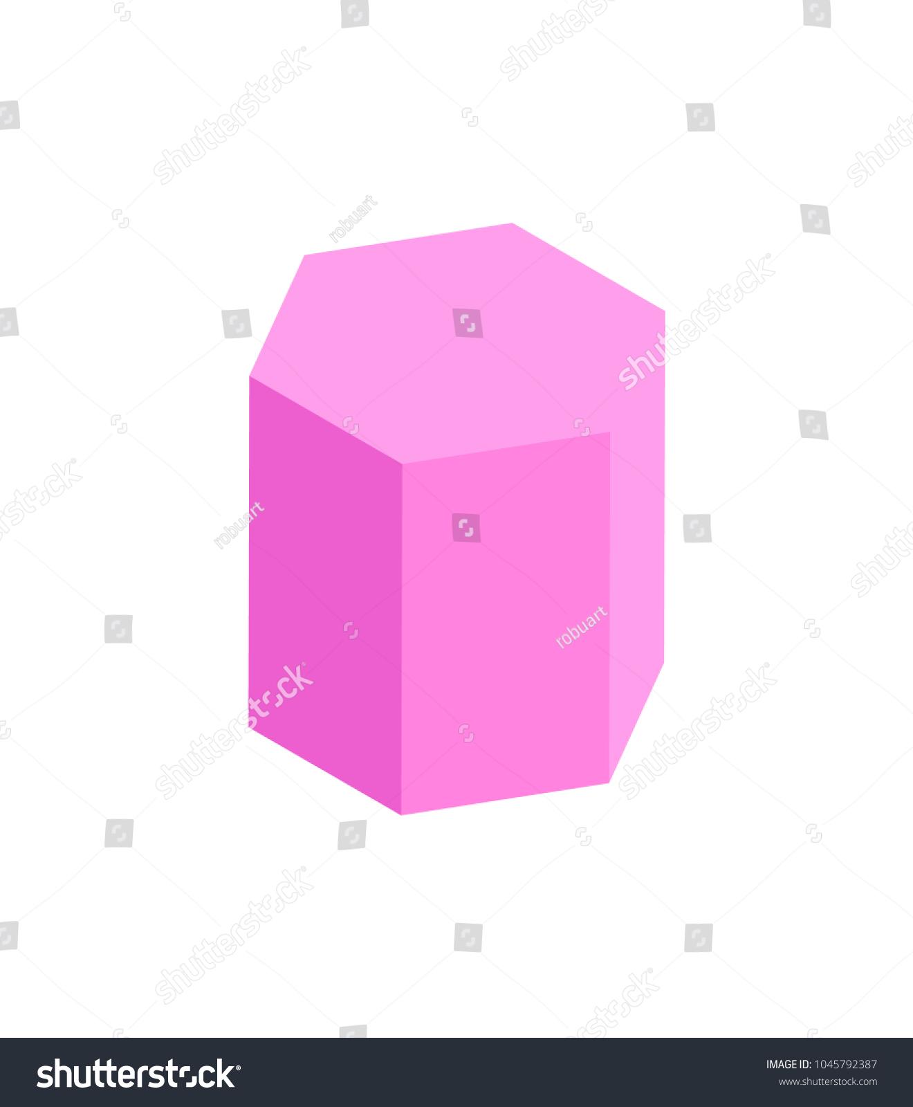 Hexagonal Prism Geometric Figure Color Template Stock Vector