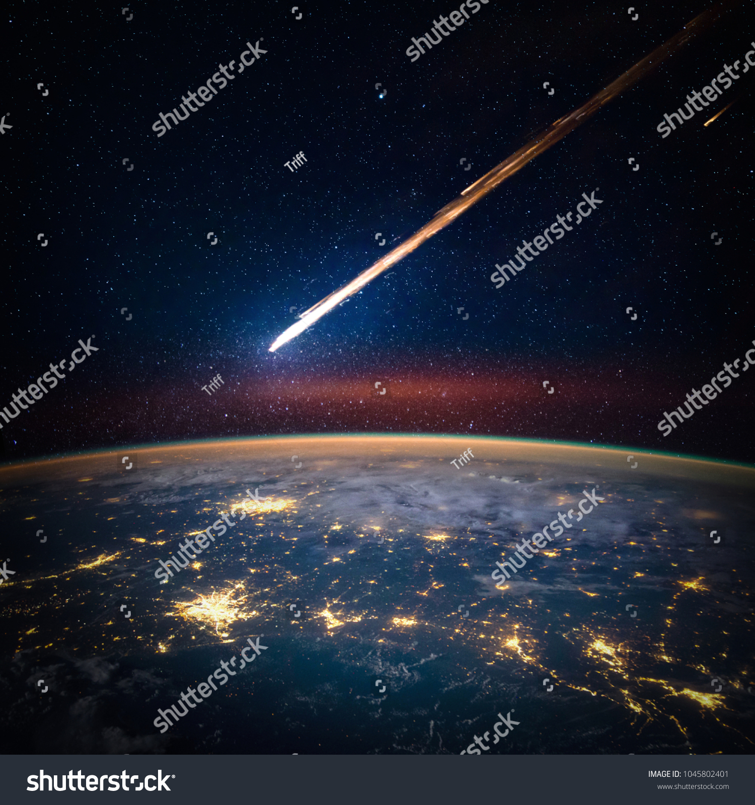 Falling Meteorite Asteroid Comet On Earth Stock Photo (Edit Now ...