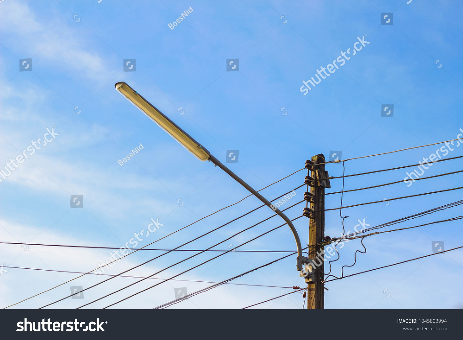 Electric Pole Wires Blue Background Stock Photo (Royalty Free ...