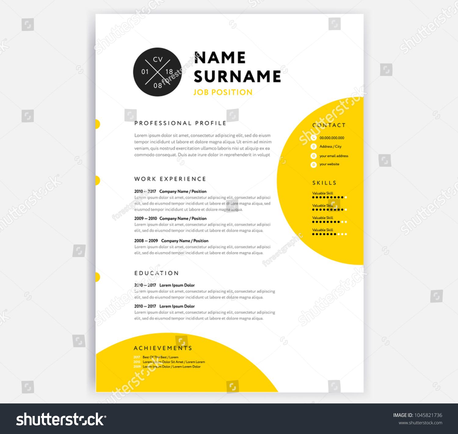 yellow cv resume template curriculum vitae のベクター画像素材