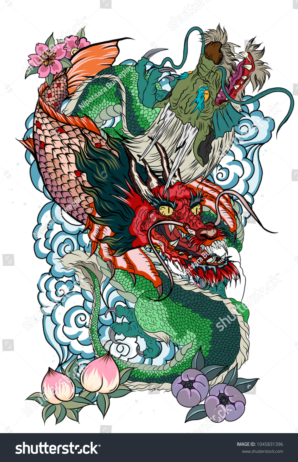 Dragon koi dragon lotus flower tattoopeach stock vector 1045831396 dragon with koi dragon and lotus flower tattooach with sakura and plum flower on izmirmasajfo