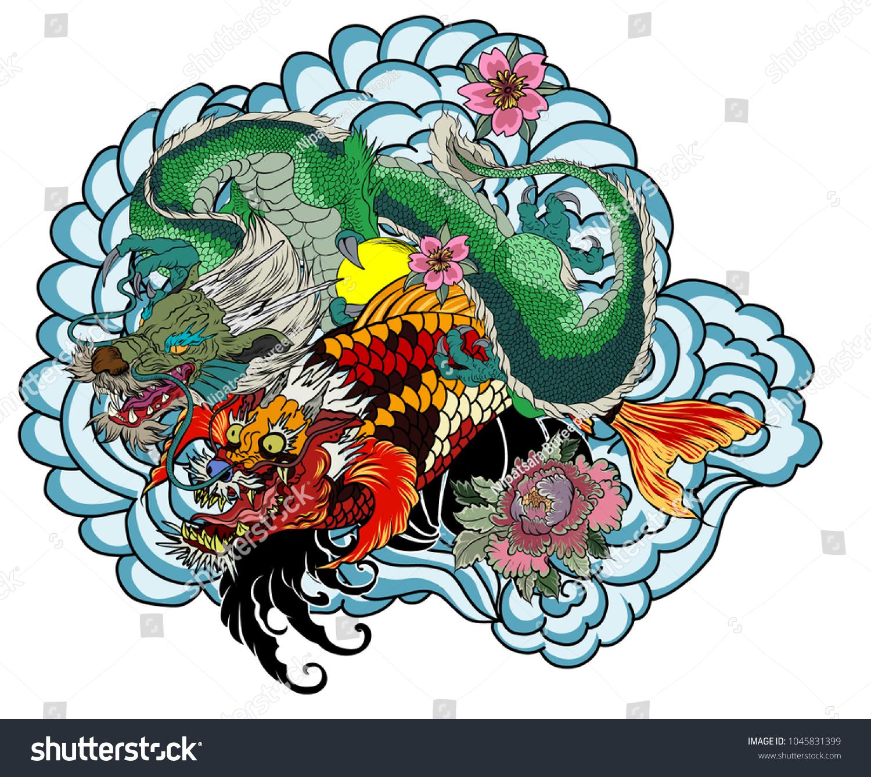 Dragon koi dragon lotus flower tattoopeach stock photo photo dragon with koi dragon and lotus flower tattooach with sakura and plum flower on izmirmasajfo