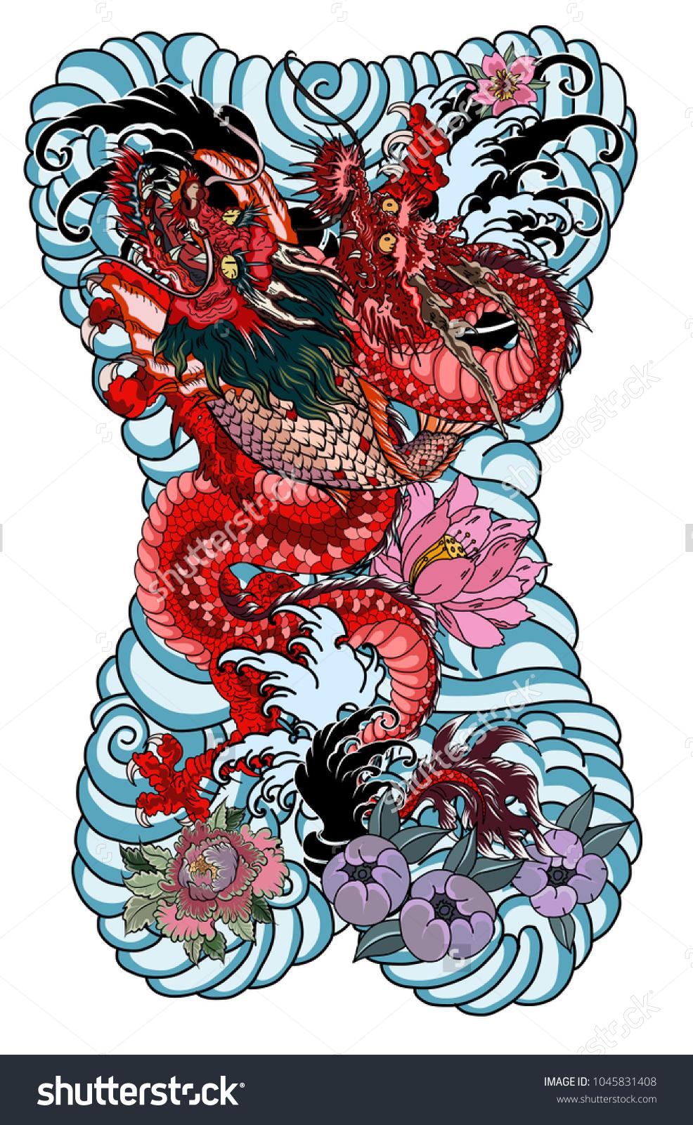 Dragon koi dragon lotus flower tattoopeach stock vector 1045831408 dragon with koi dragon and lotus flower tattooach with sakura and plum flower on izmirmasajfo