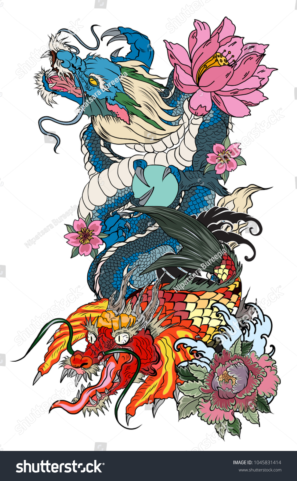 Dragon and lotus flower tattoos images flower wallpaper hd dragon koi dragon lotus flower tattoopeach stock vector 1045831414 dragon with koi dragon and lotus flower izmirmasajfo Images