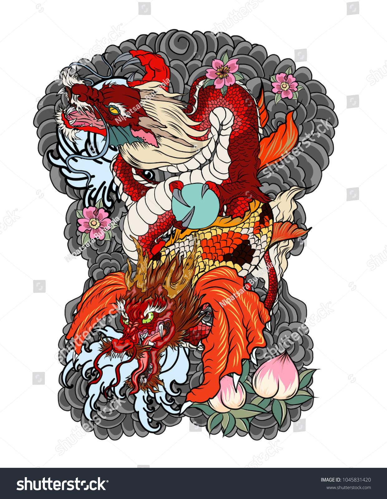 Dragon koi dragon lotus flower tattoopeach stock vector 1045831420 dragon with koi dragon and lotus flower tattooach with sakura and plum flower on izmirmasajfo