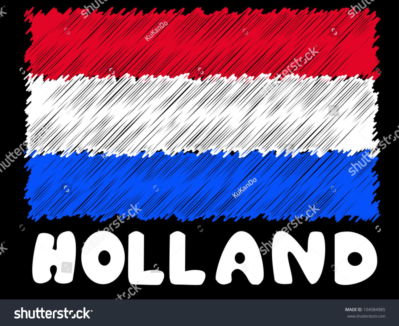 scribble sketch holland flag stock illustration 104584985