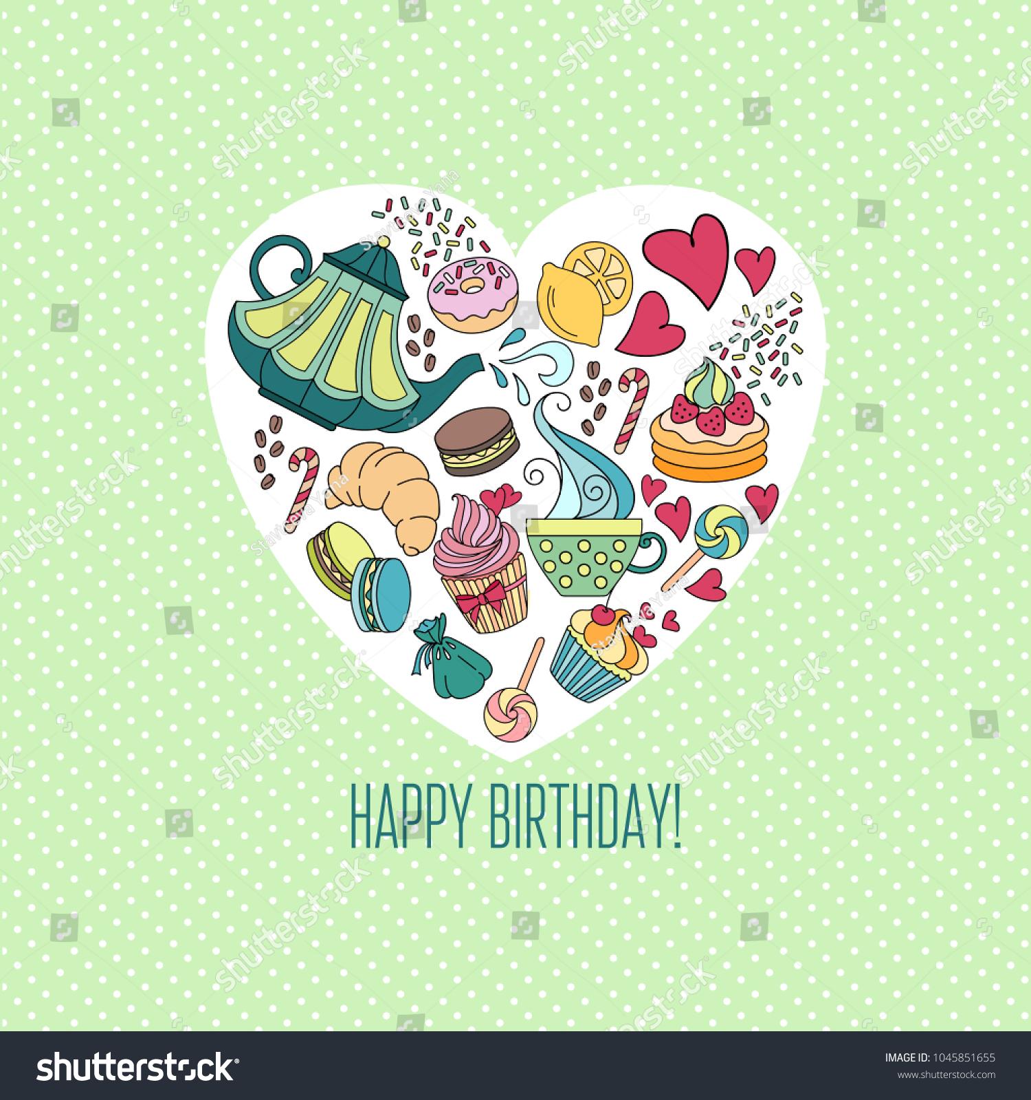 Template Greeting Birthday Card Invitation Tea Stock Vector Royalty
