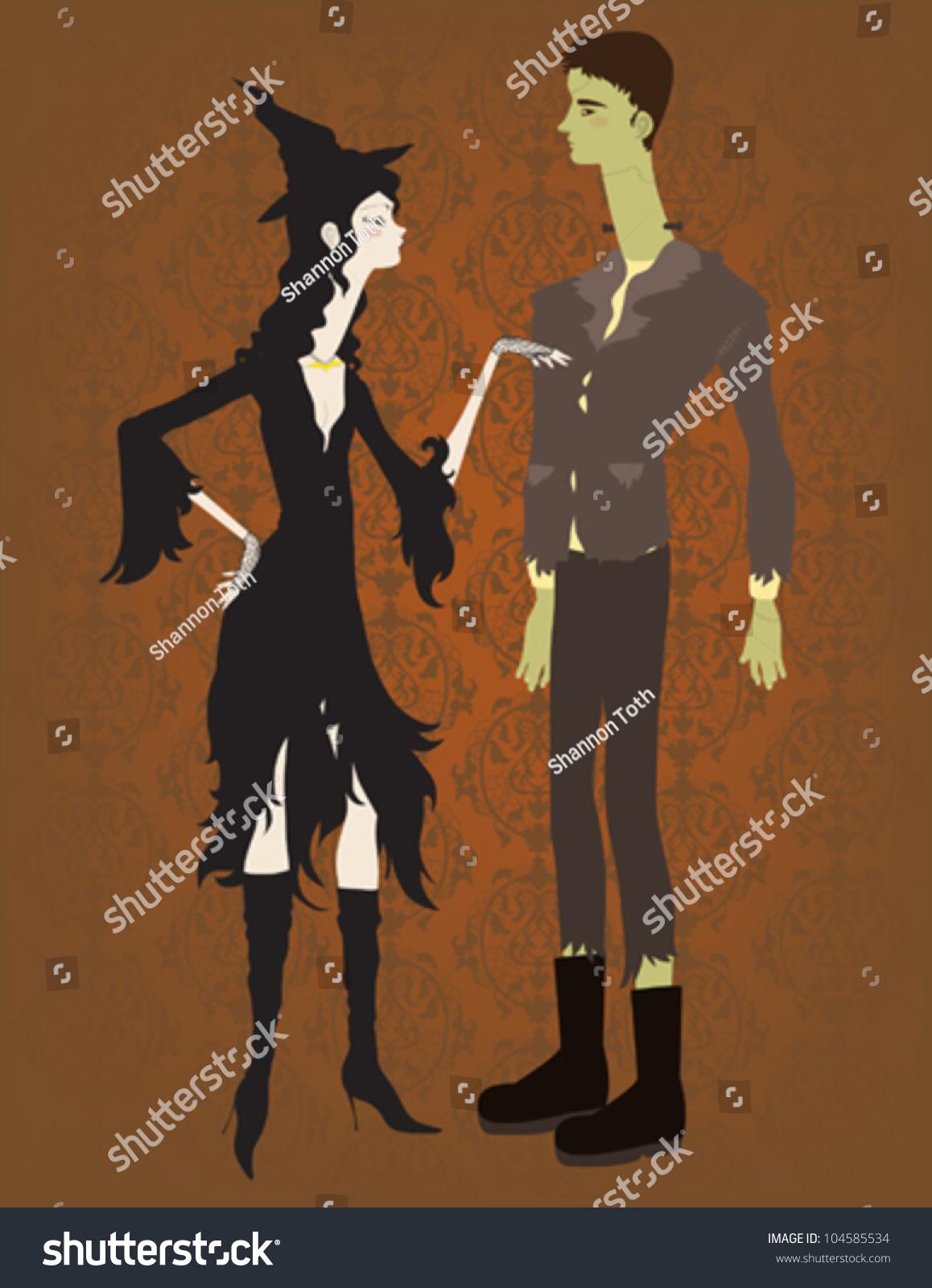 Witch Frankenstein Couple Stock Vector 104585534 - Shutterstock