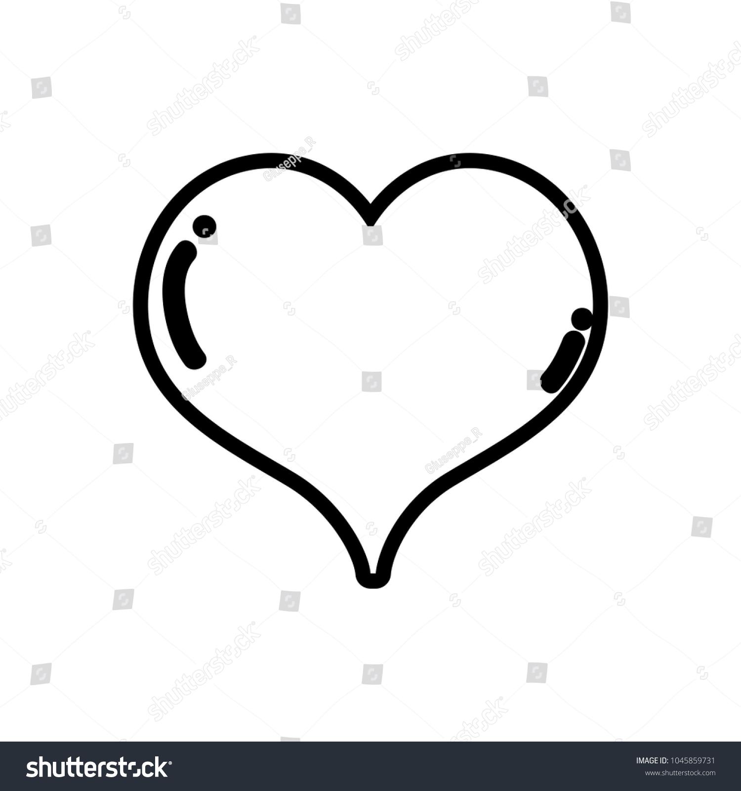Line Heart Love Symbol Passion Art Stock Vector 1045859731
