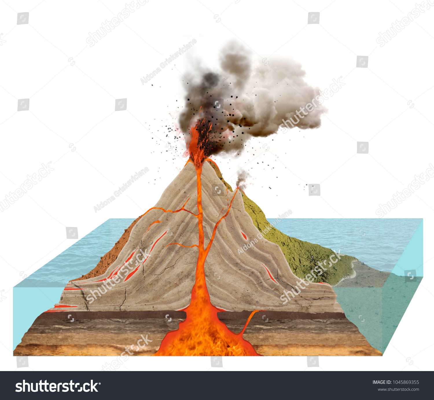Diagram Volcano Isolated On White Background Stock Illustration With Labels Of