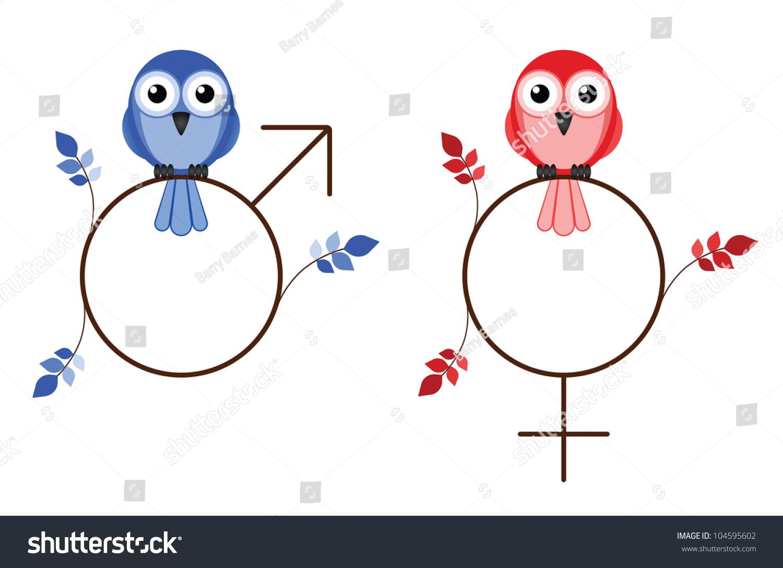 Male Female Twig Symbols Isolated On Stock Illustration 104595602