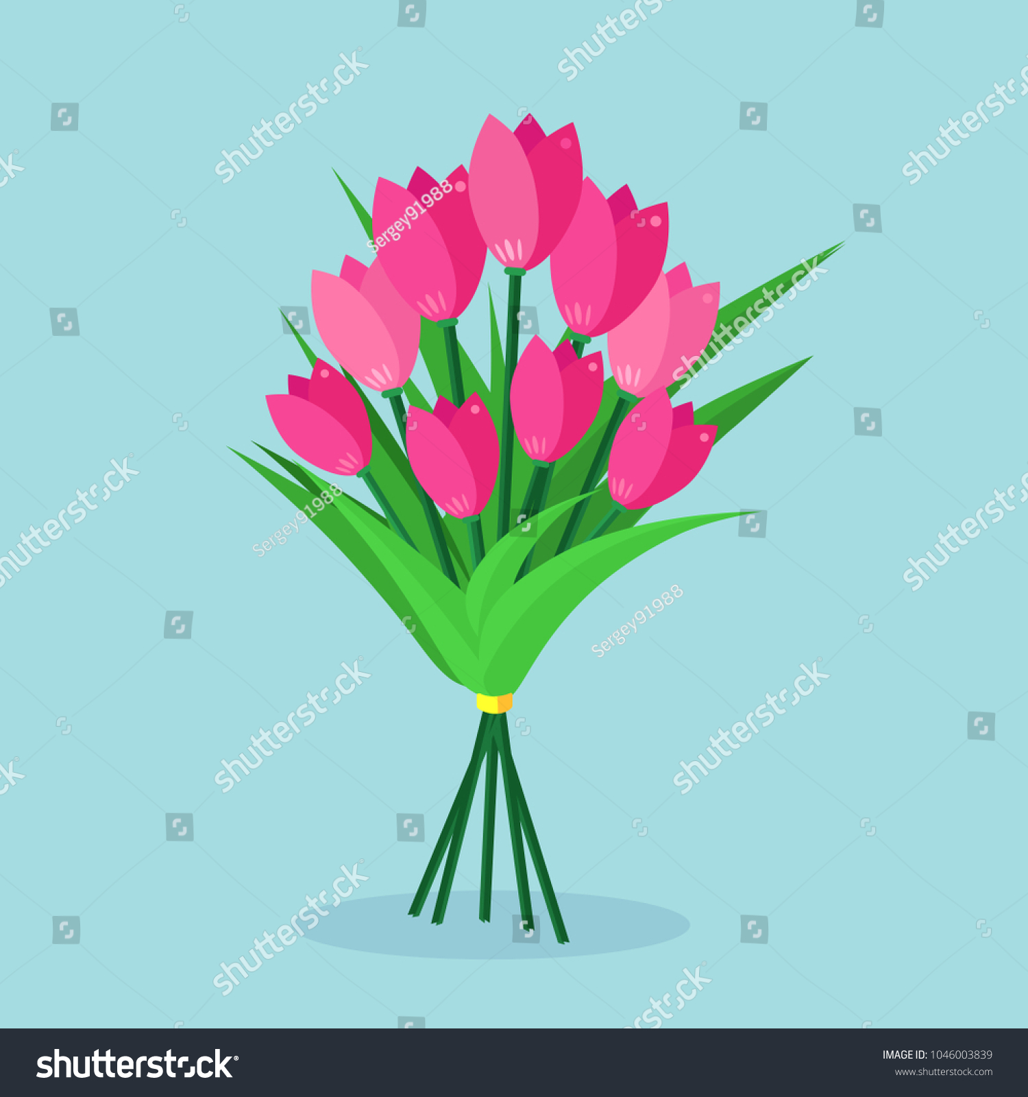 Bouquet Red Tulip Bunch Flowers Isolated Stock Vector Royalty Free
