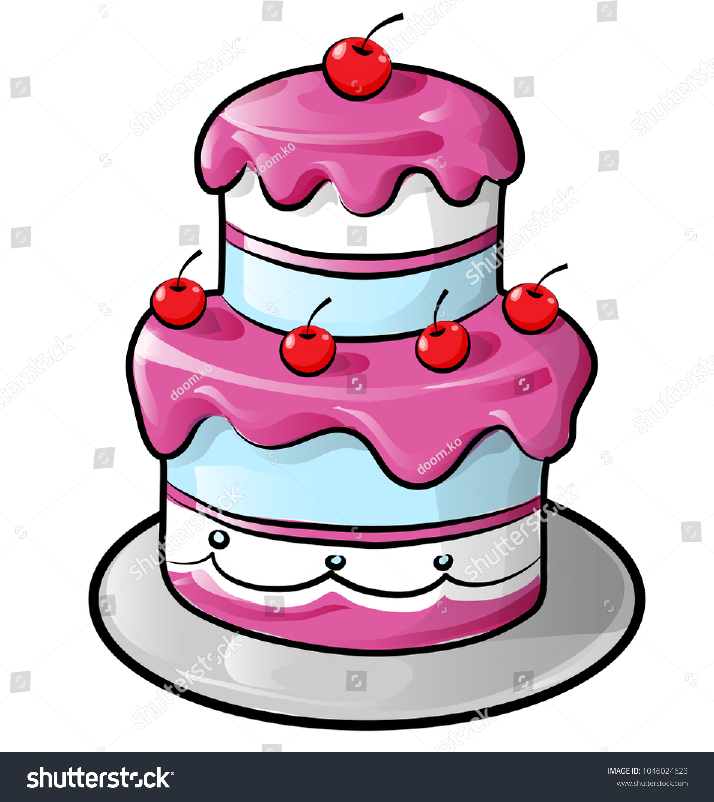 Colorful Birthday Cake Outline Isolated On Stock Vector Royalty