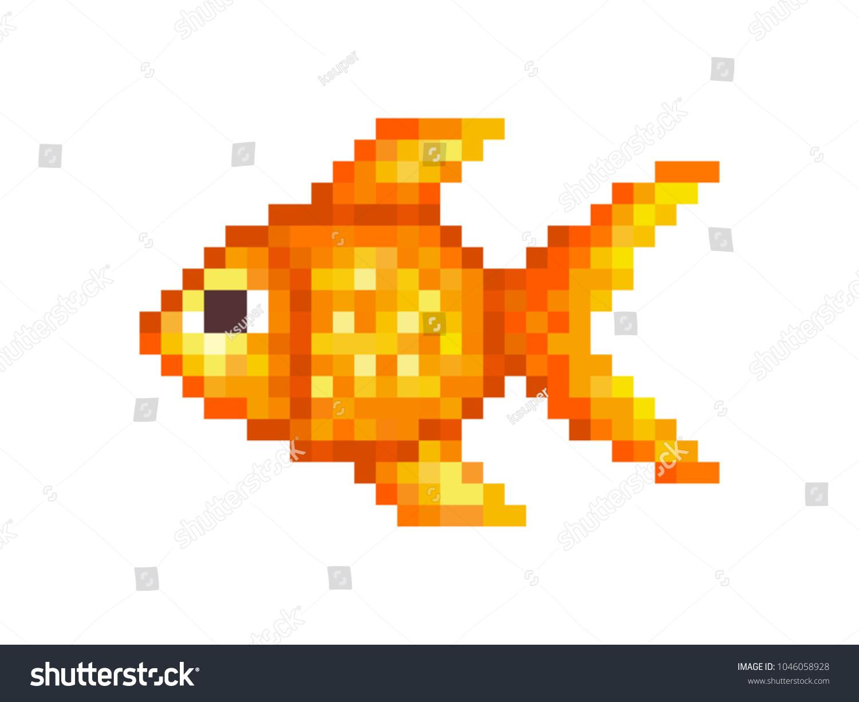 Goldfish pixel art symbol isolated on stock vector 1046058928 goldfish pixel art symbol isolated on white background pet animalpopular aquarium fish buycottarizona Gallery
