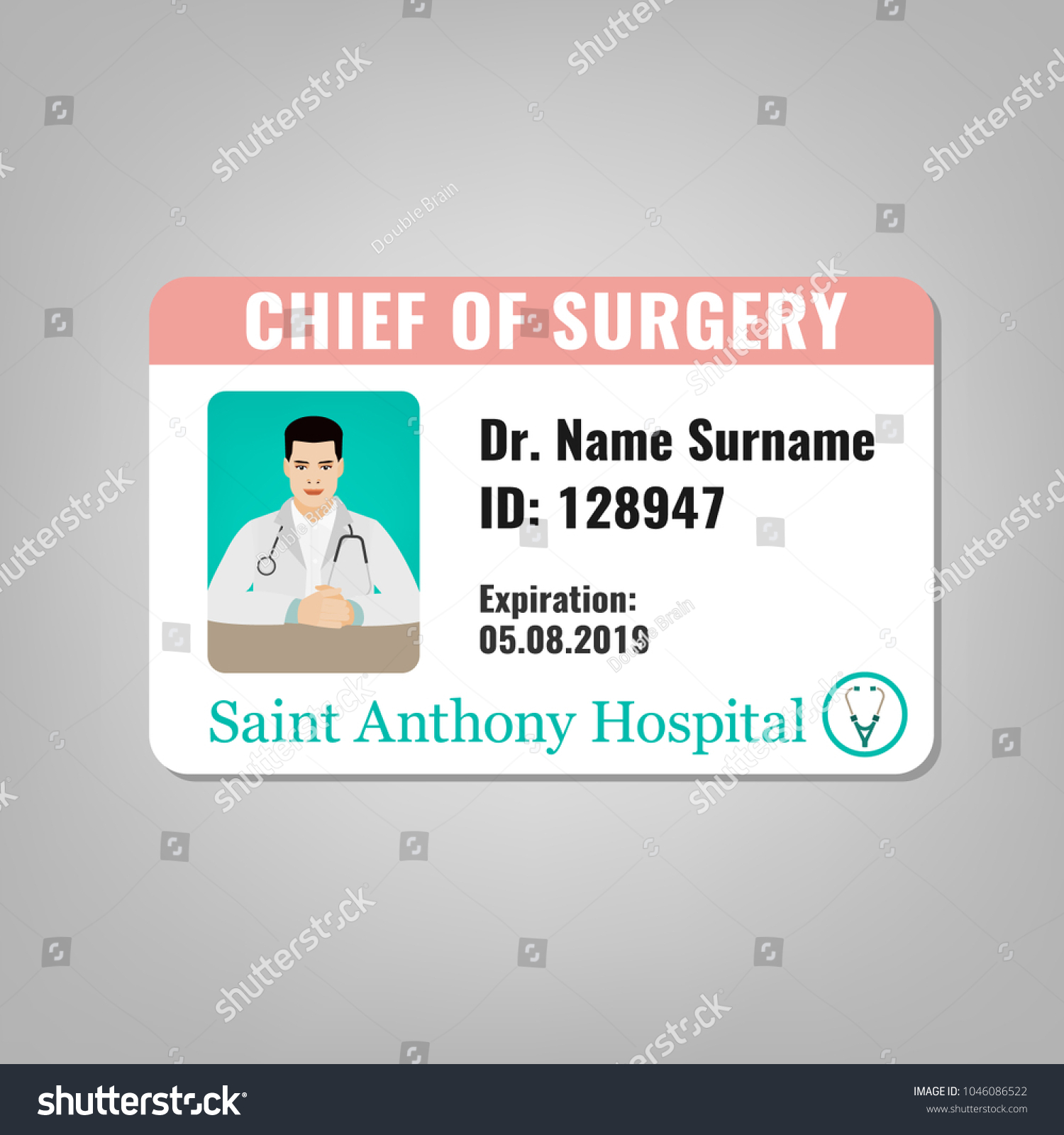 Doctors ID Card With House Surgeon Image Medical Specialist Badge Template For Medicine Emergency