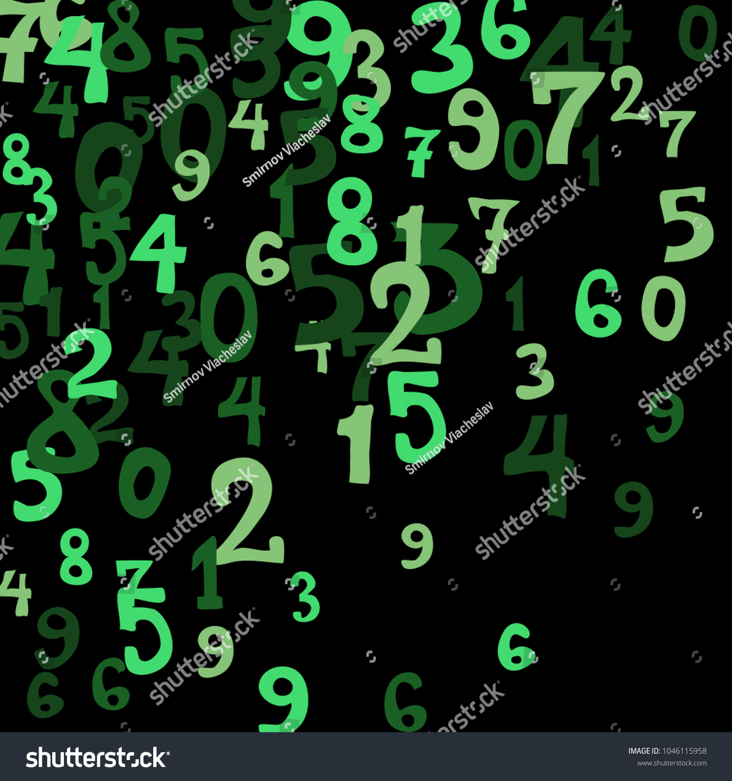 Falling Colorful Numbers On Black Background Stock Vector 1046115958 ...
