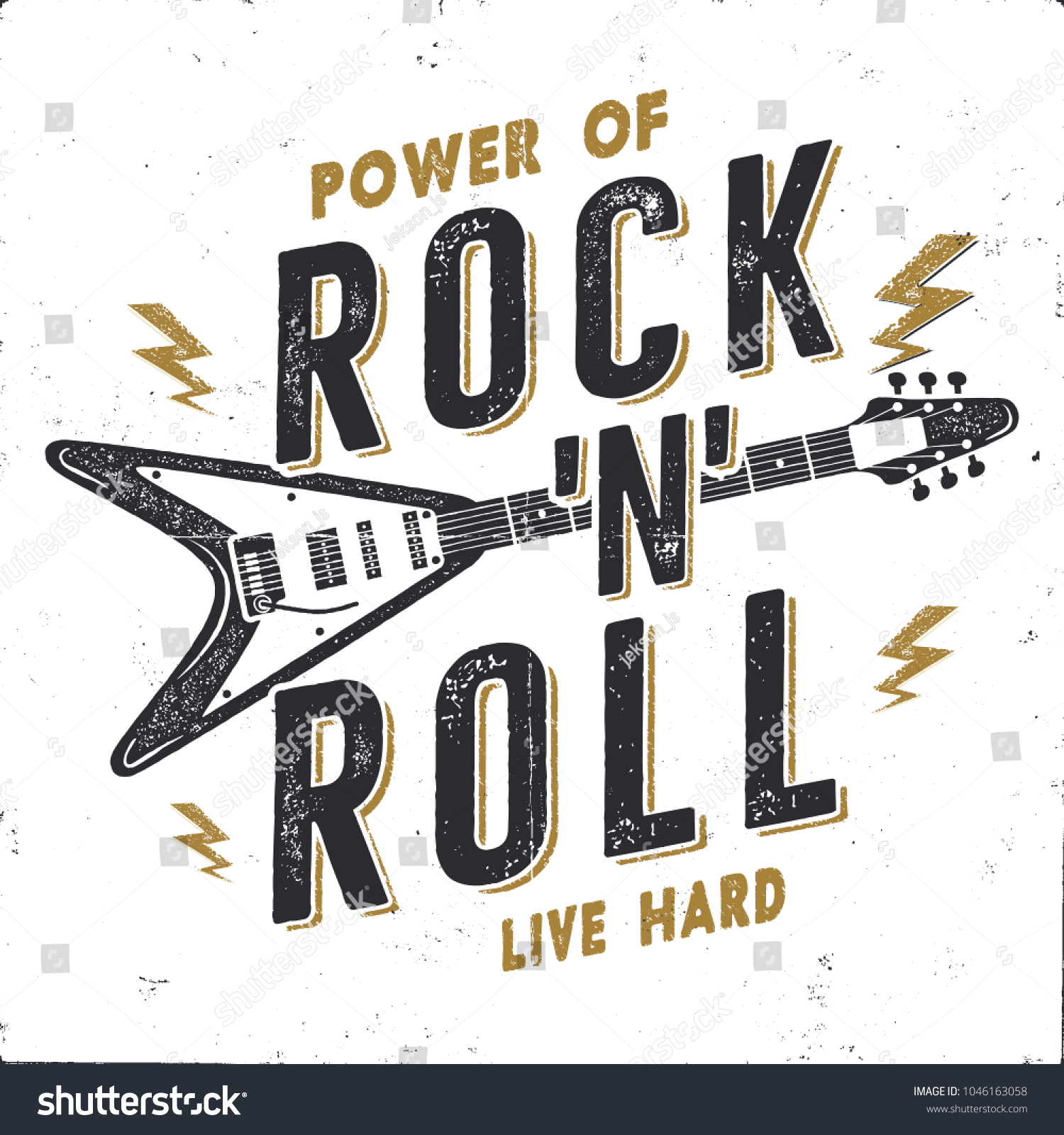 Vintage Hand Drawn Rock N Roll Stock Vector Royalty Free 1046163058
