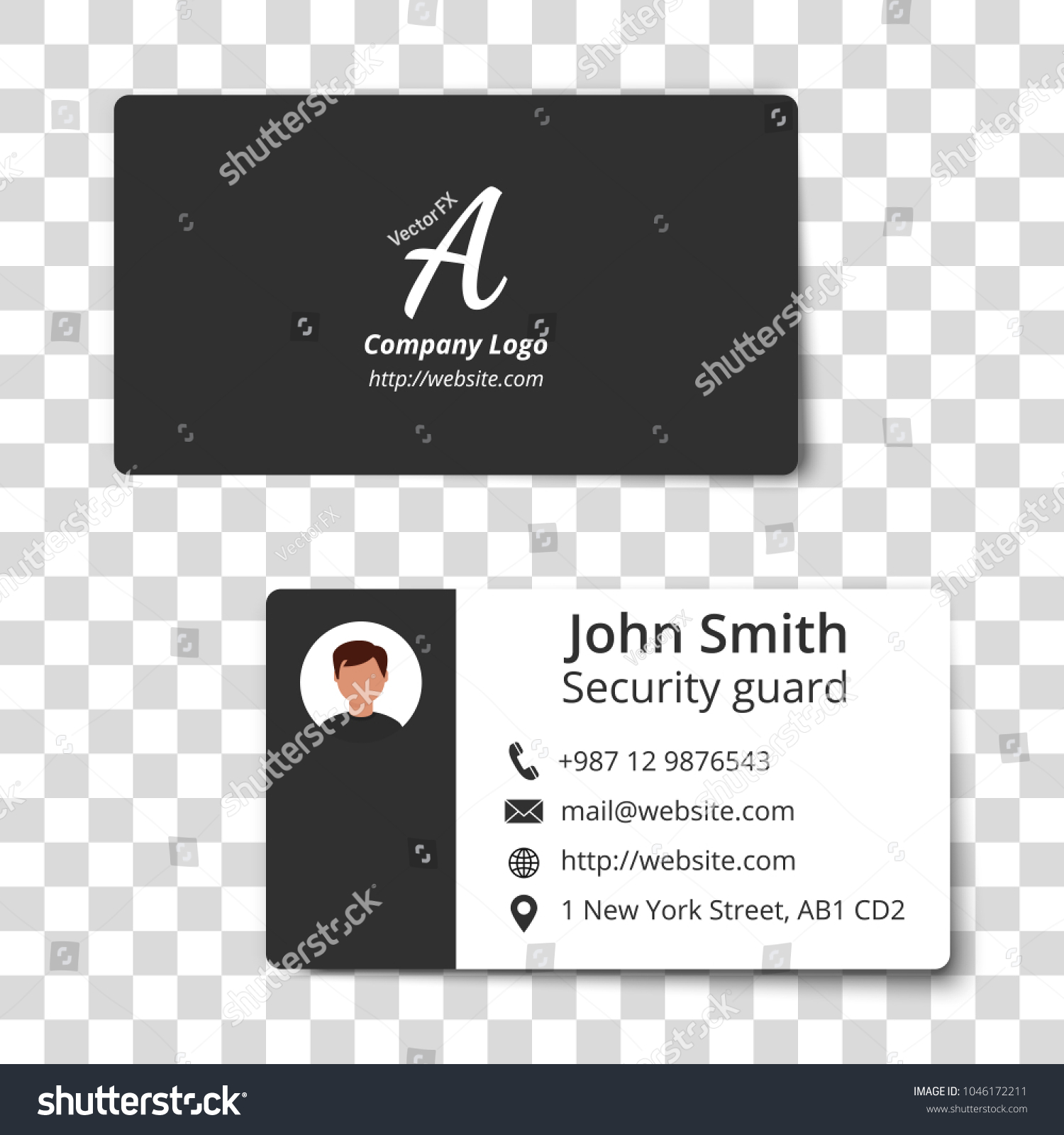 Twosided Business Card Template Vector Illustration Stock Vector ...