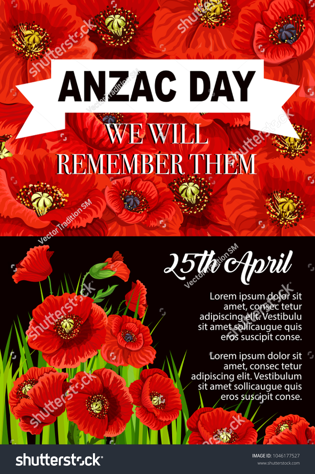 Anzac Day Poppy Flower Poster 25 Stock Vector Royalty Free