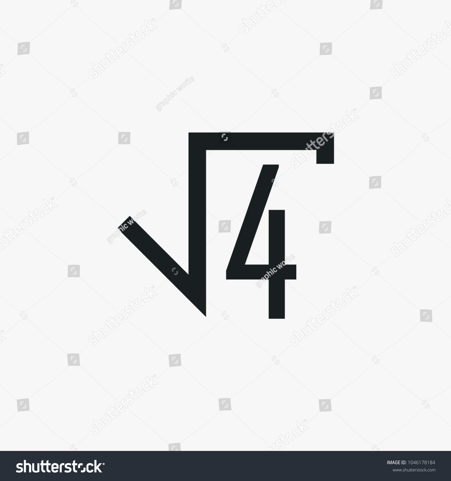 Square Root Icon Simple School Element Stock Vector 1046178184