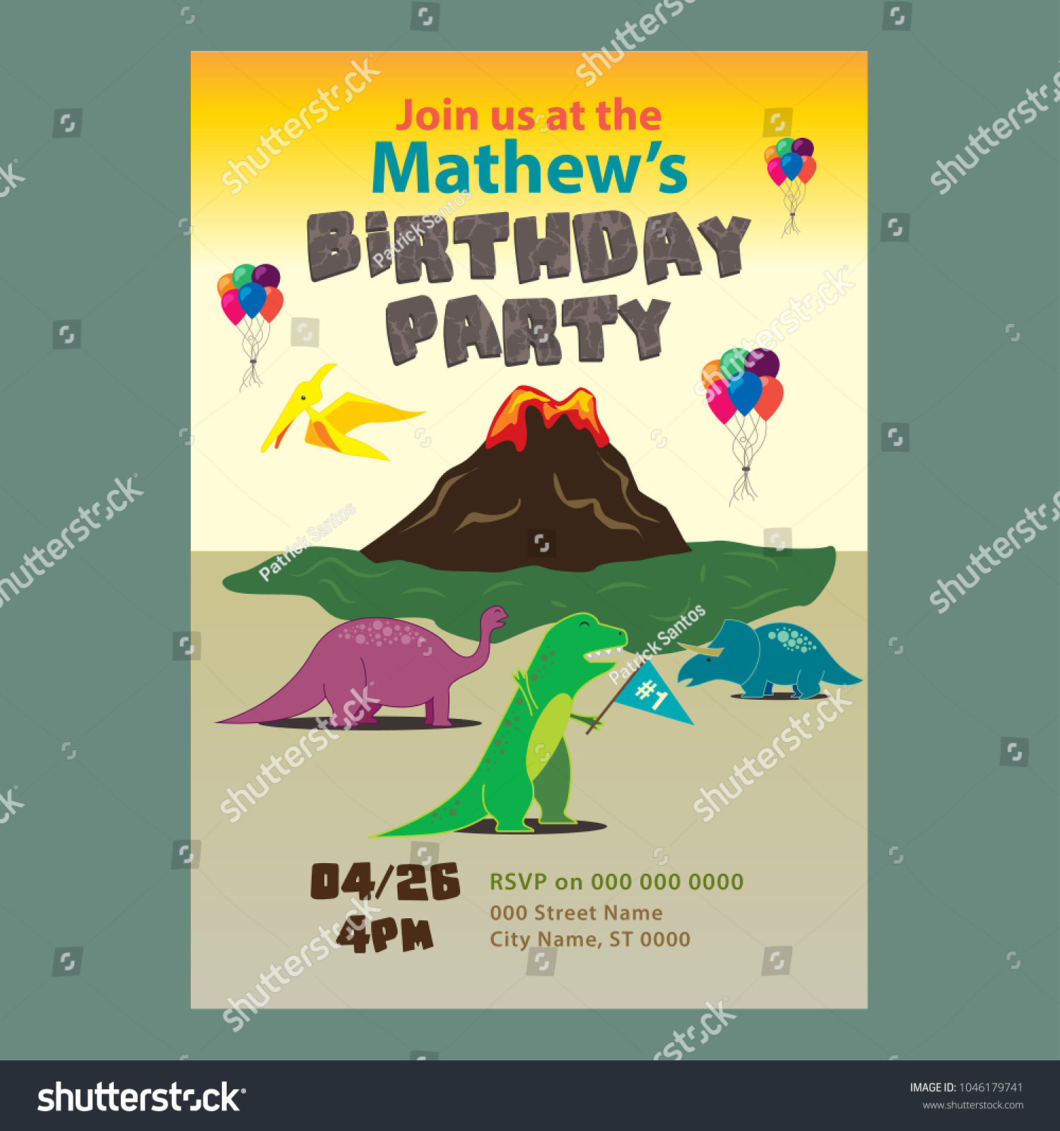 Colorful Dinosaur Birthday Party Invitation Stock Vector 1046179741 ...