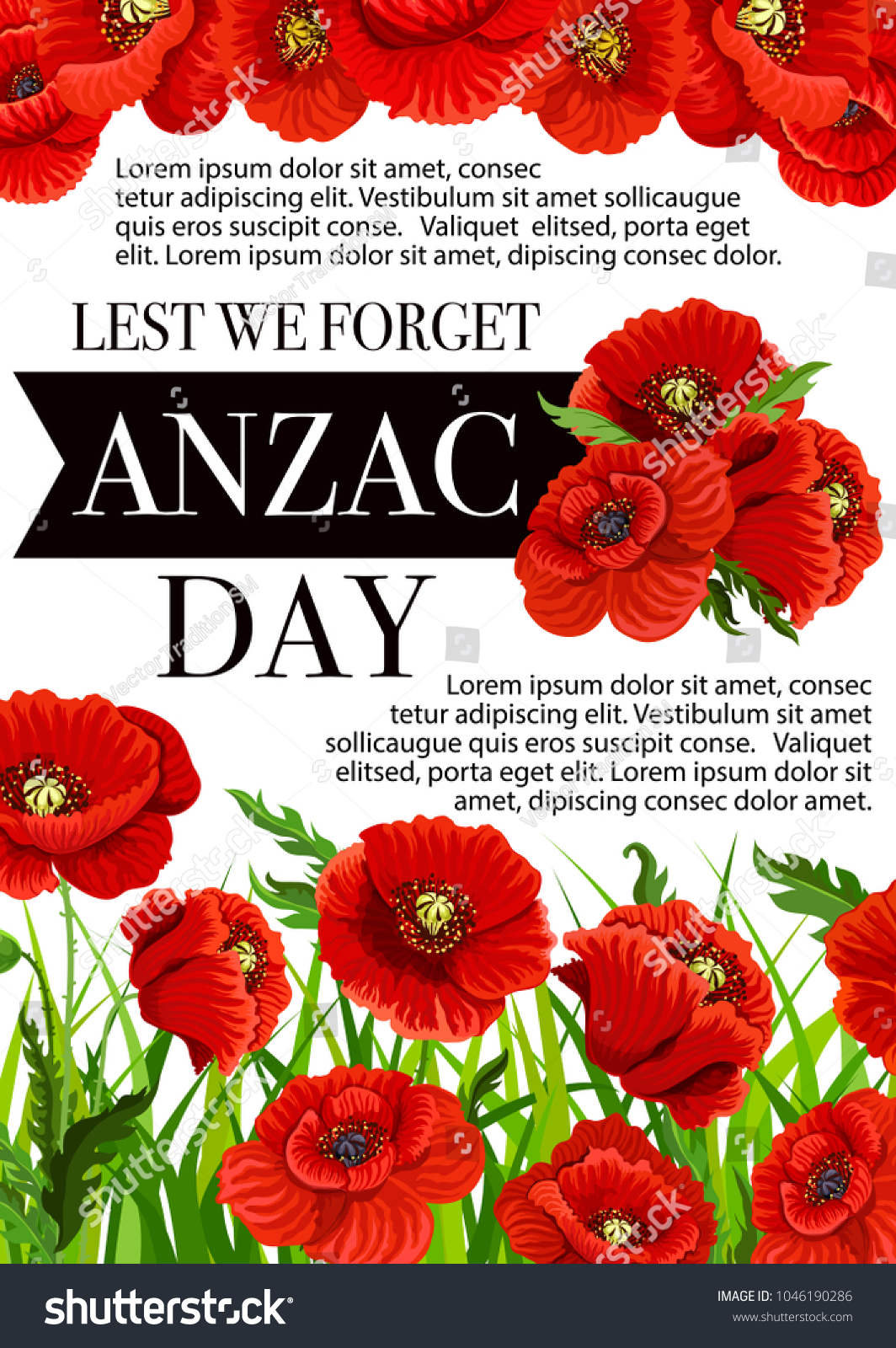 Anzac Day Lest We Forget Greeting Stock Vector Royalty Free