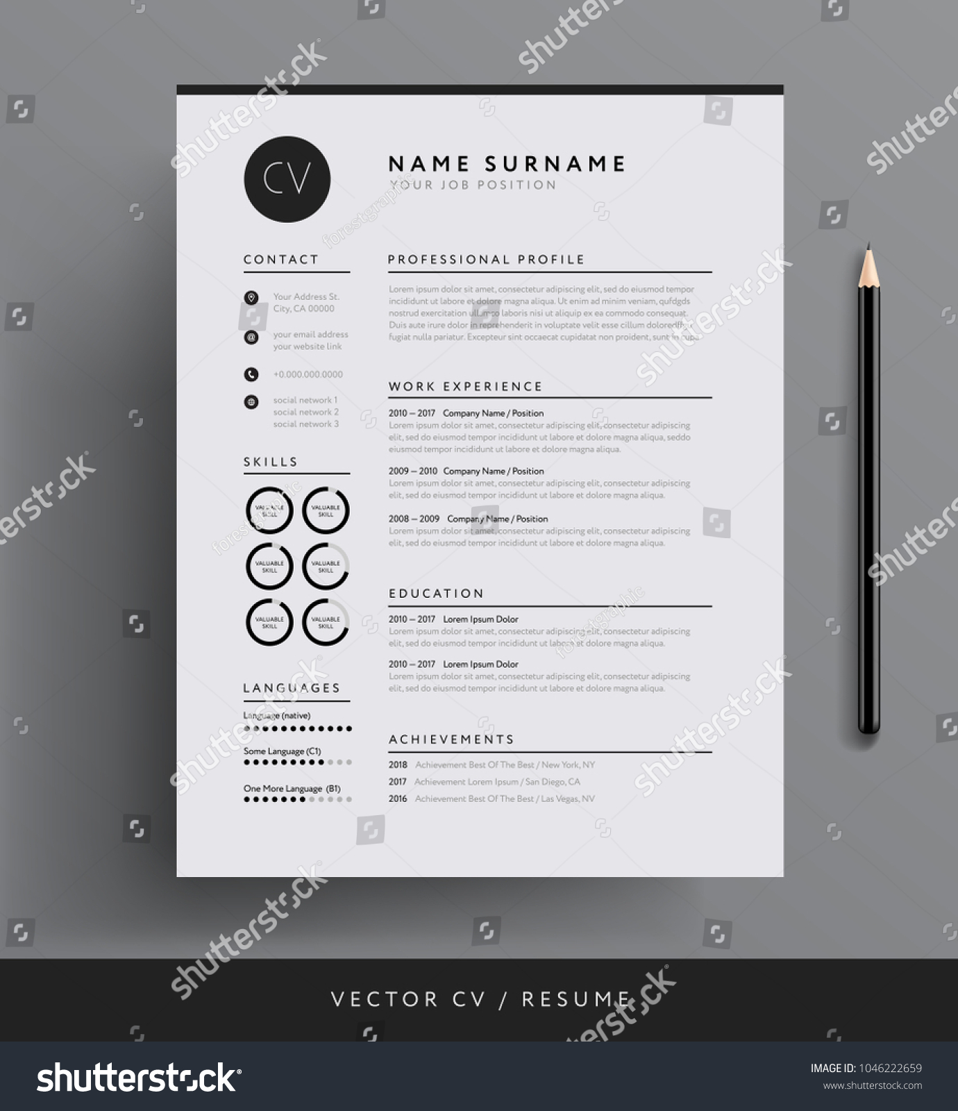 Professional cv resume template design creative professional cv resume template design creative 1046222659 shutterstock yelopaper Images