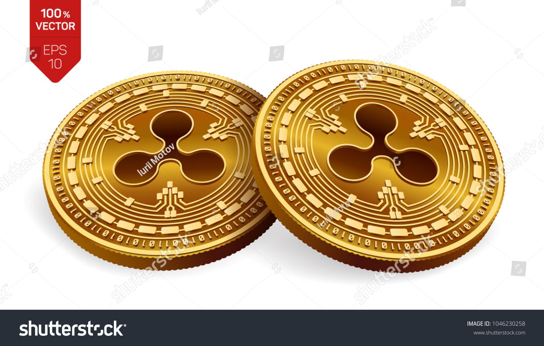 Ripple 3 D Isometric Physical Coins Digital Stock Vector